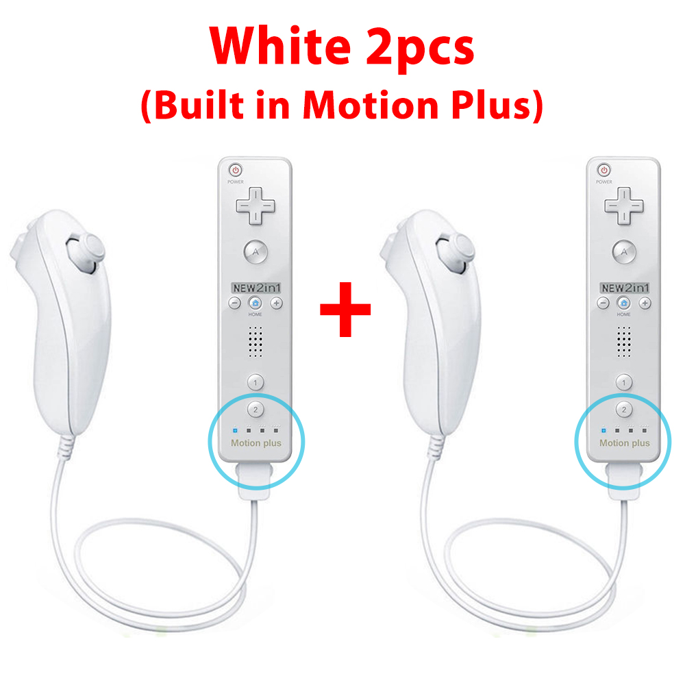 Remote and Nunchuck Controller Set Combo + Case Skin For Nintendo Wii &Wii U