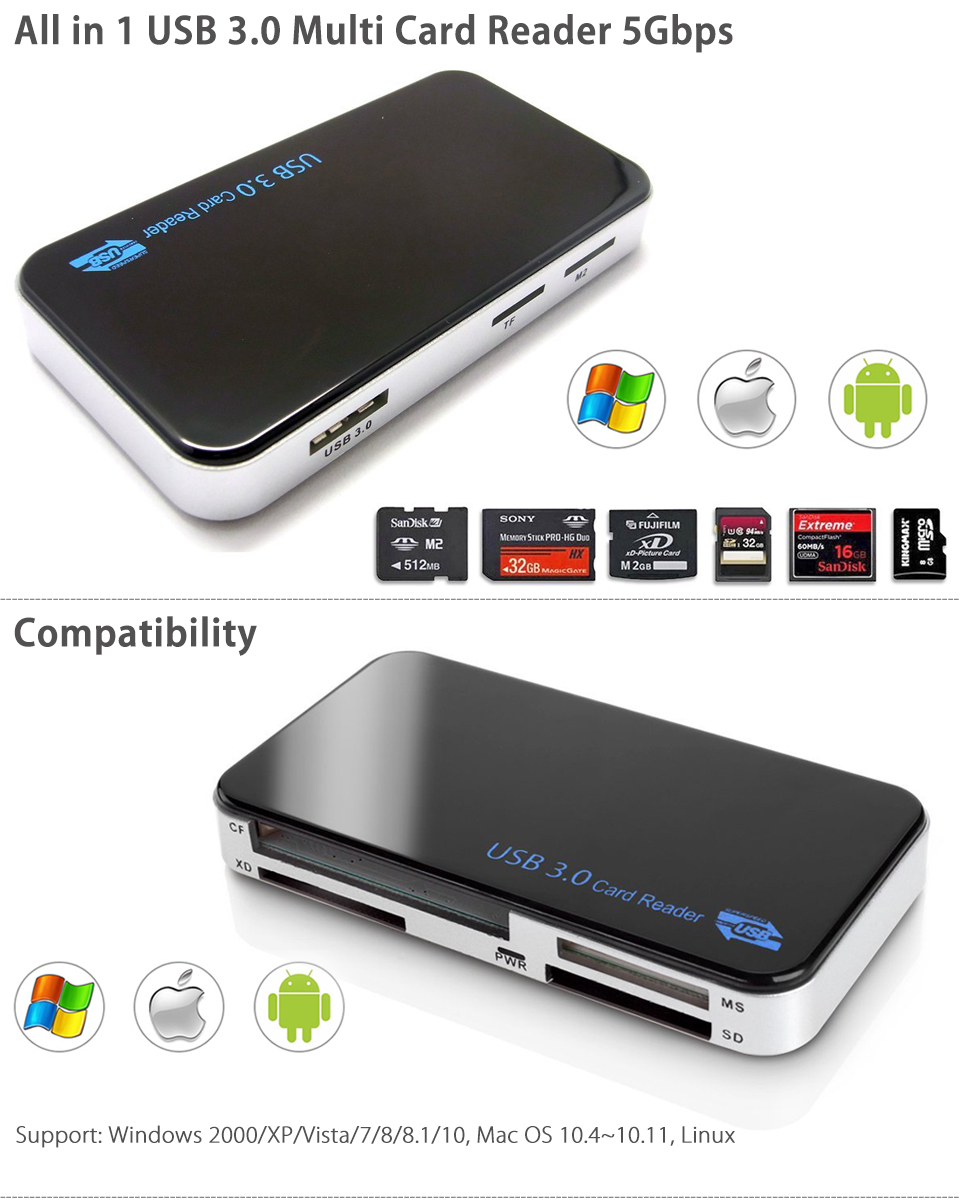 USB 3.0 All In 1 Compact Flash Multi Card Reader CF
