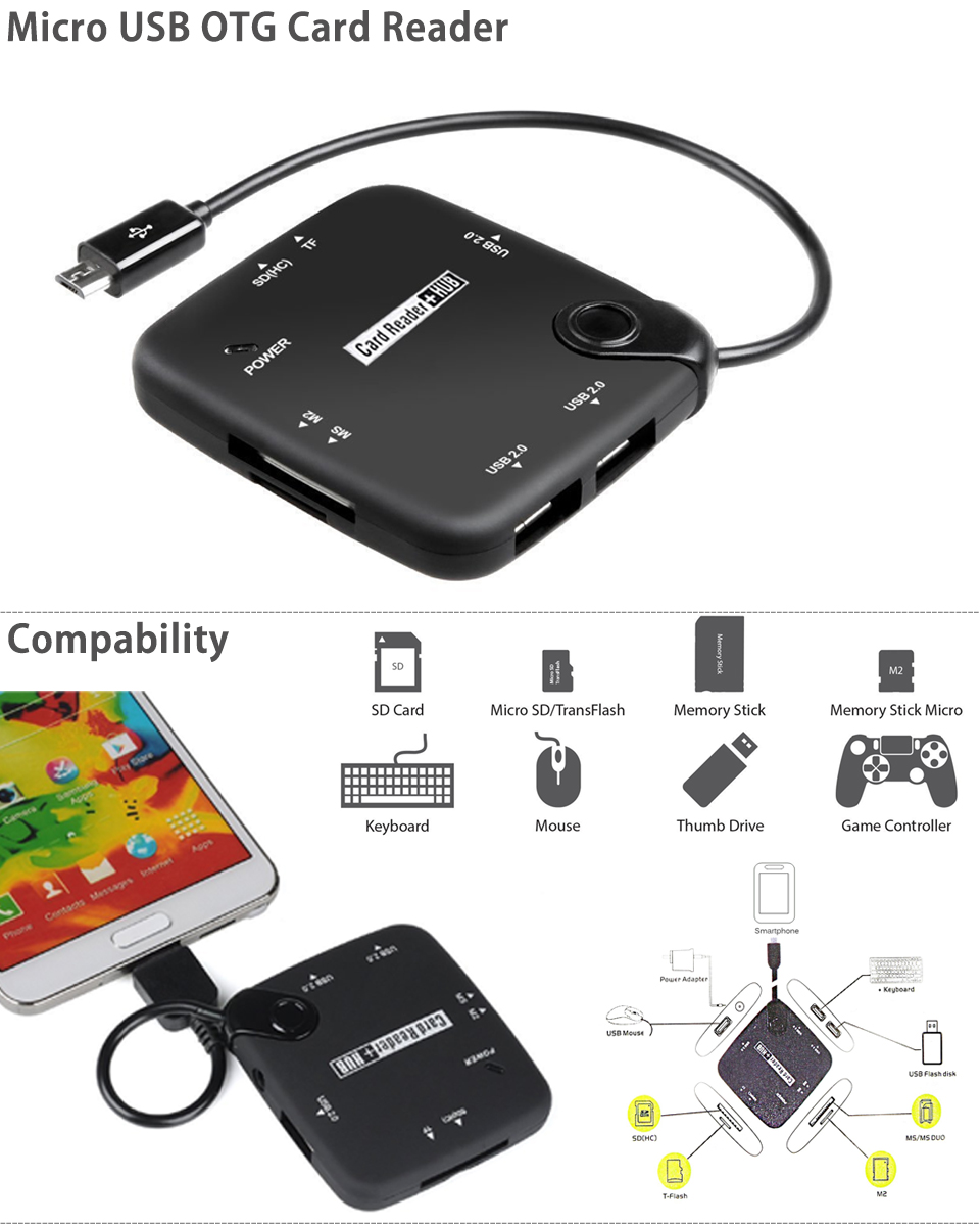 Mini 2 In 1 Micro USB 2.0 Host Adapter OTG Cable Card