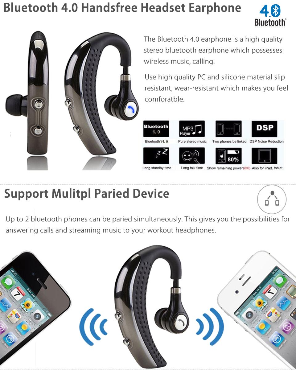 Stereo Wireless Bluetooth 4.0 Handsfree Headsets Earphones