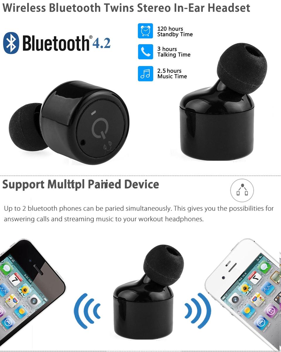 Mini Twins True Wireless Earphone Bluetooth 4.2 Stereo Earbuds In-Ear Headsets