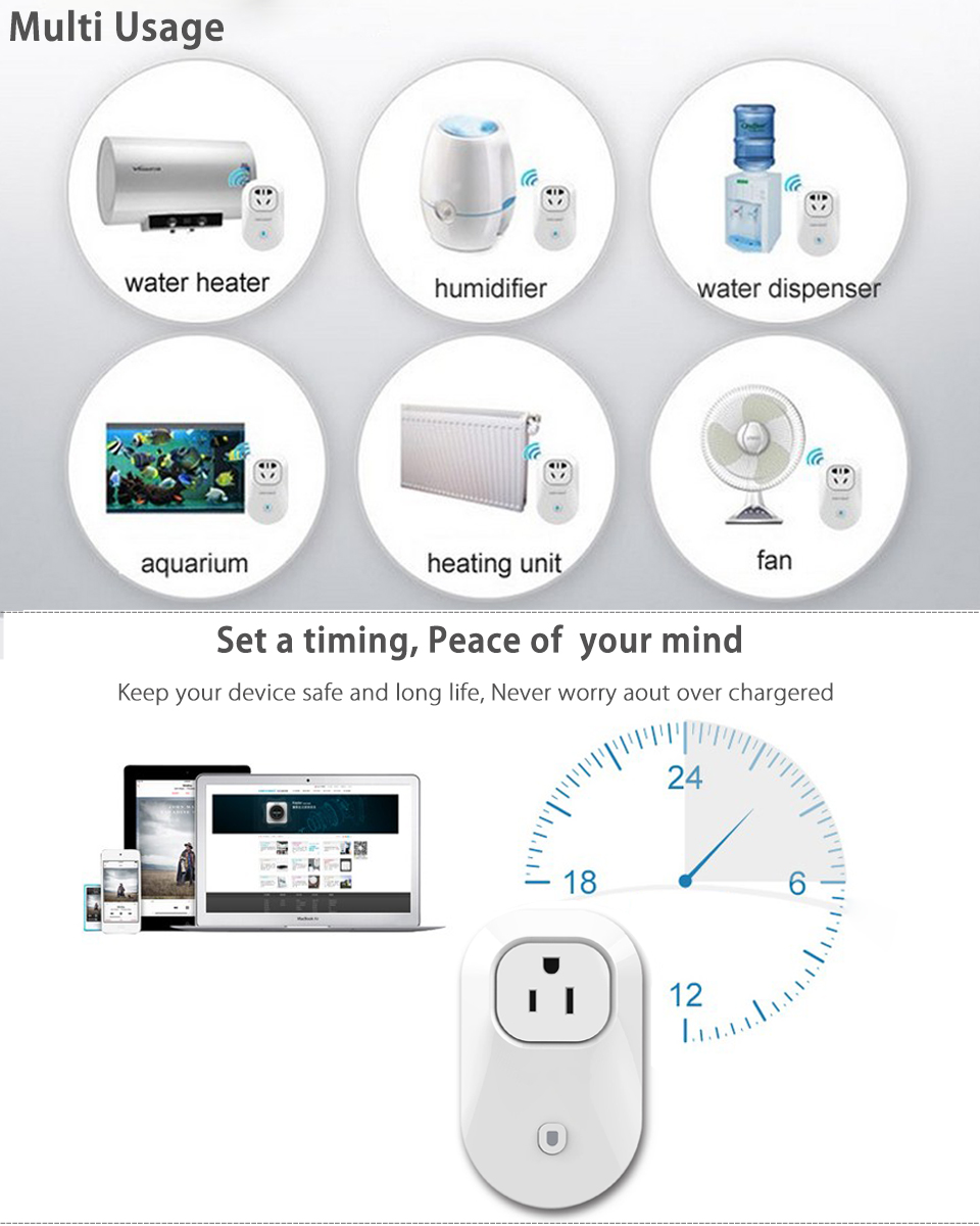Digital Cell Phone WiFi Remote Control Timer Socket Outlet Switch