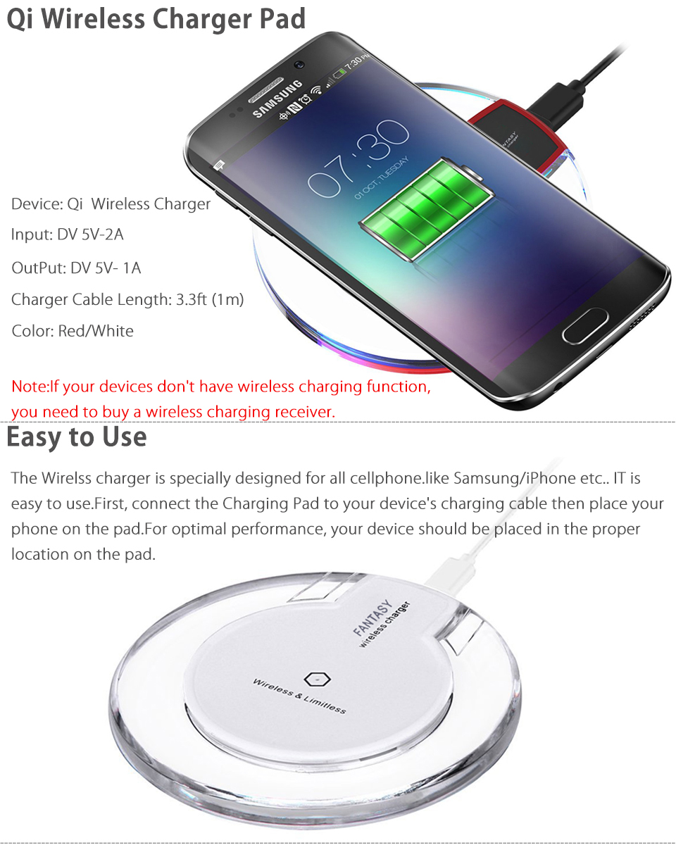 Clear Qi Wireless Fast Charger Charging Pad For Samsung