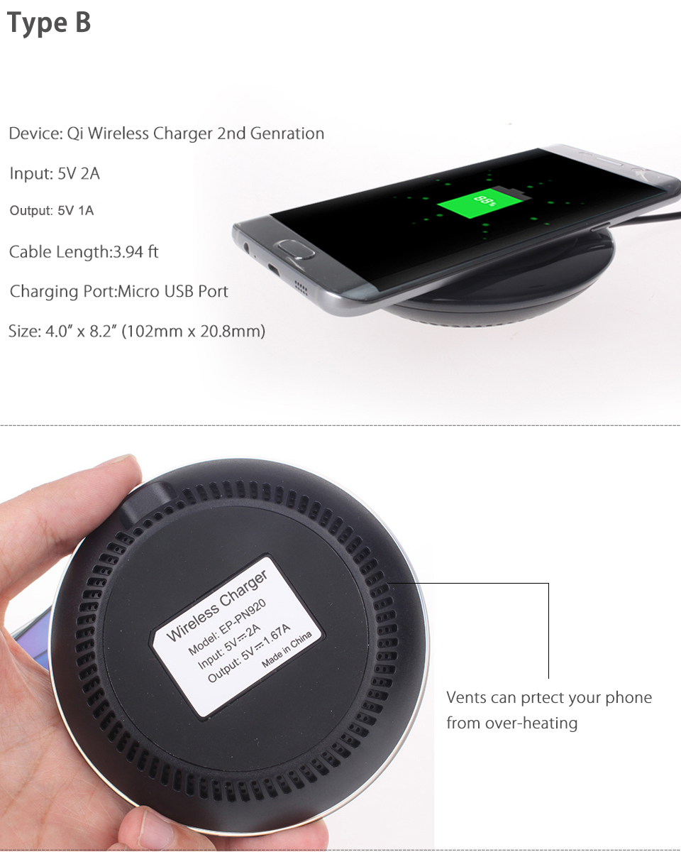 qi wireless power fast charger charging pad mat for samsung galaxy s8 s8 plus s7. Black Bedroom Furniture Sets. Home Design Ideas