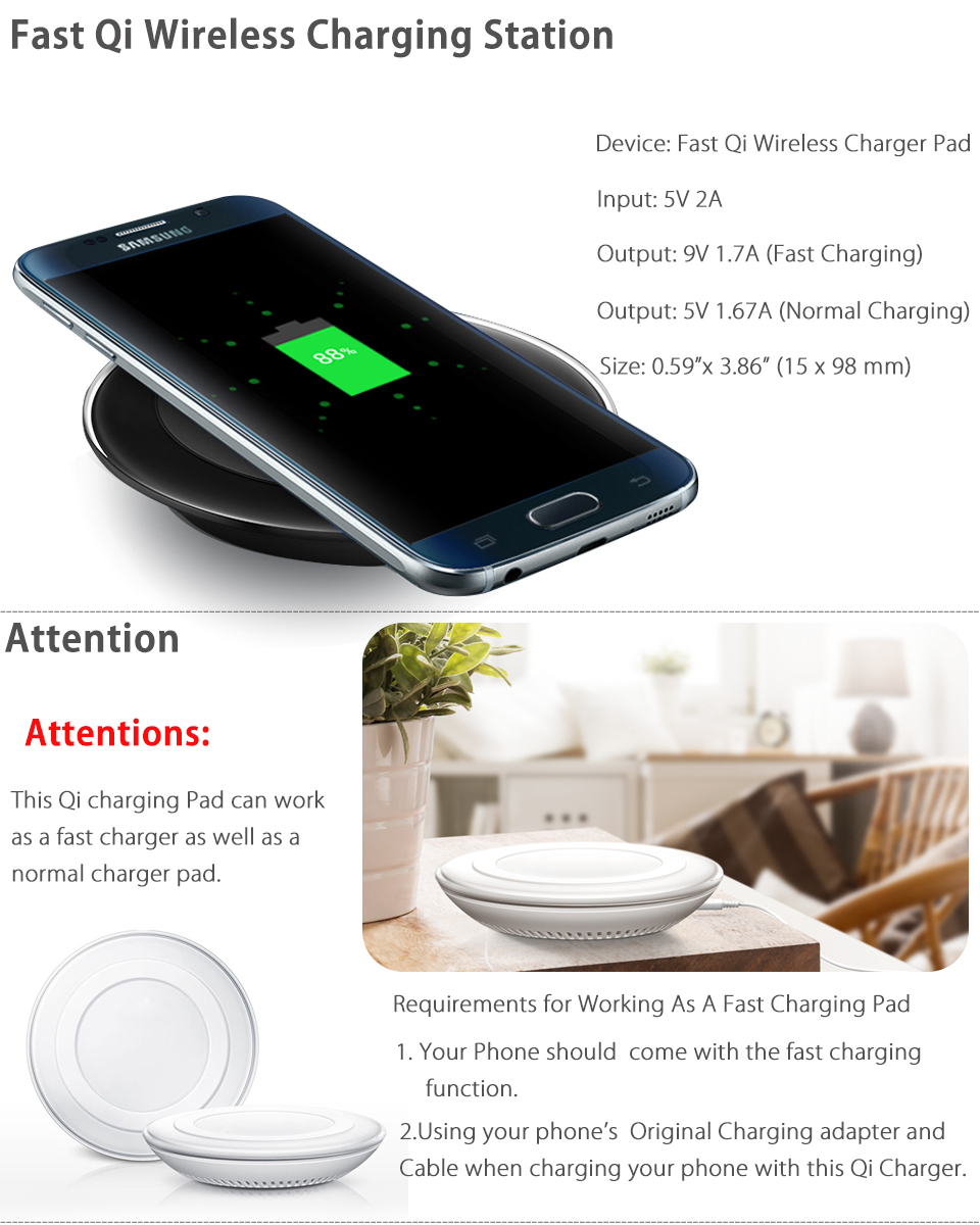 qi wireless fast charger charging pad for samsung galaxy. Black Bedroom Furniture Sets. Home Design Ideas