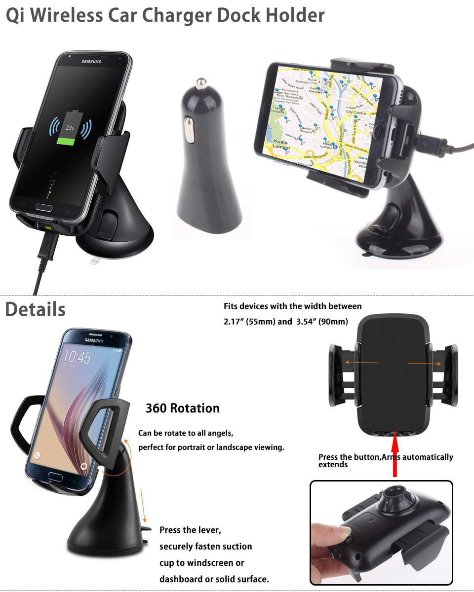 qi wireless charging vehicle car dock suction car charger. Black Bedroom Furniture Sets. Home Design Ideas