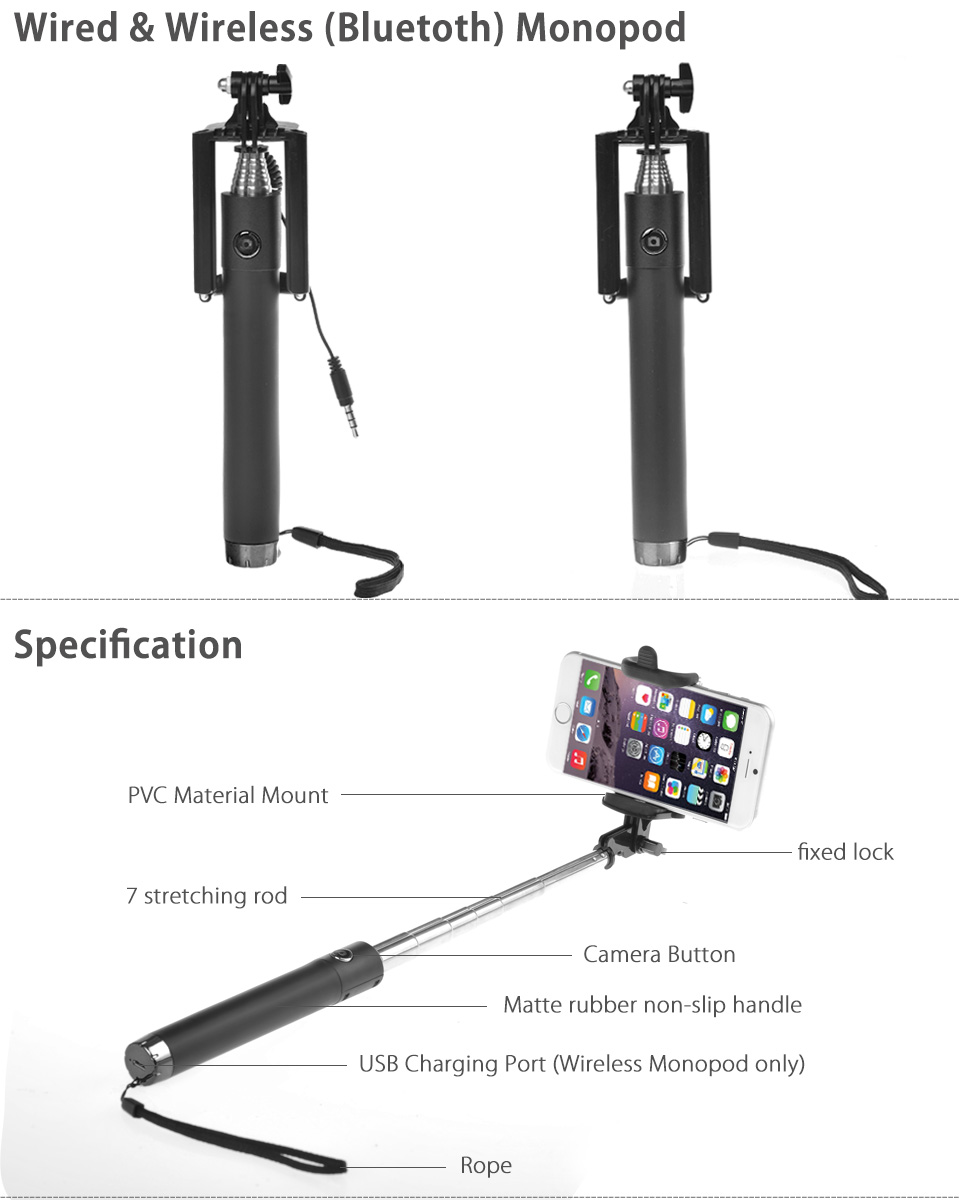 extendable wired wireless bluetooth selfie stick monopod for samsung iphone lg ebay. Black Bedroom Furniture Sets. Home Design Ideas