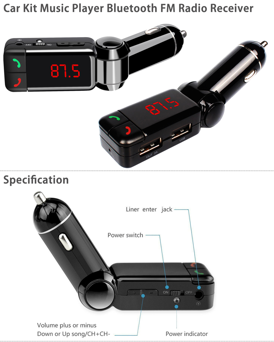 car kit mp3 music player wireless bluetooth fm transmitter. Black Bedroom Furniture Sets. Home Design Ideas