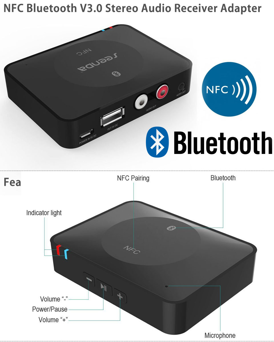 usb nfc wireless bluetooth stereo audio music receiver. Black Bedroom Furniture Sets. Home Design Ideas