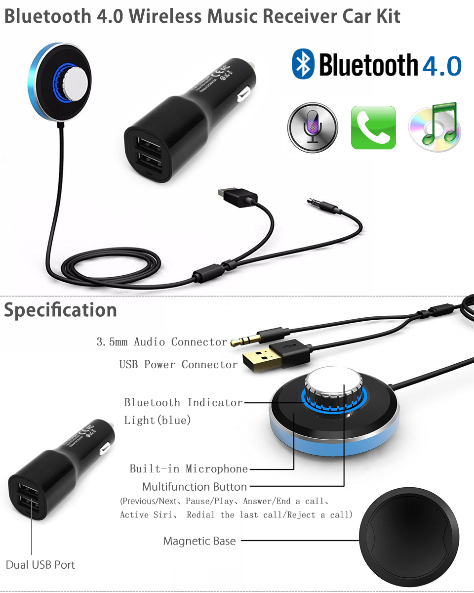 Bluetooth 4.0 Wireless Music Receiver 3.5mm Adapter Car Handsfree AUX Speaker
