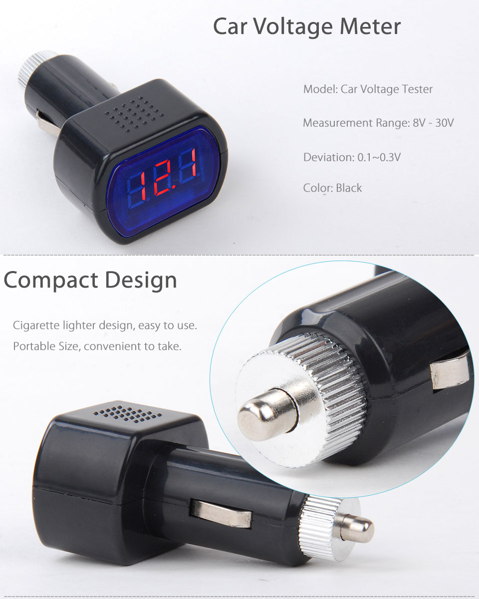 led car battery electric cigarette lighter voltmeter voltage meter gauge tester ebay. Black Bedroom Furniture Sets. Home Design Ideas
