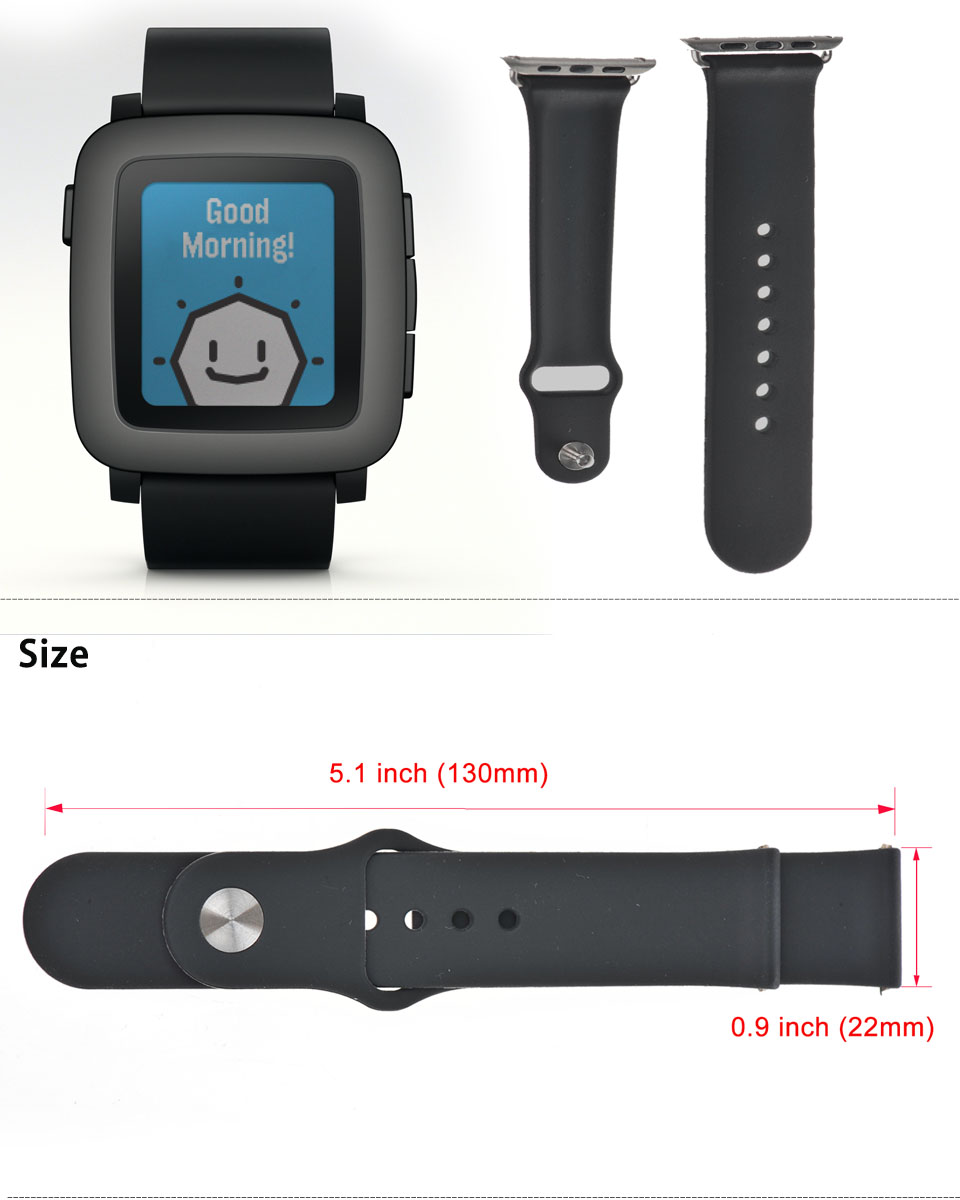 22mm TPU Soft Silicon Replacement Watch Band Strap For ...