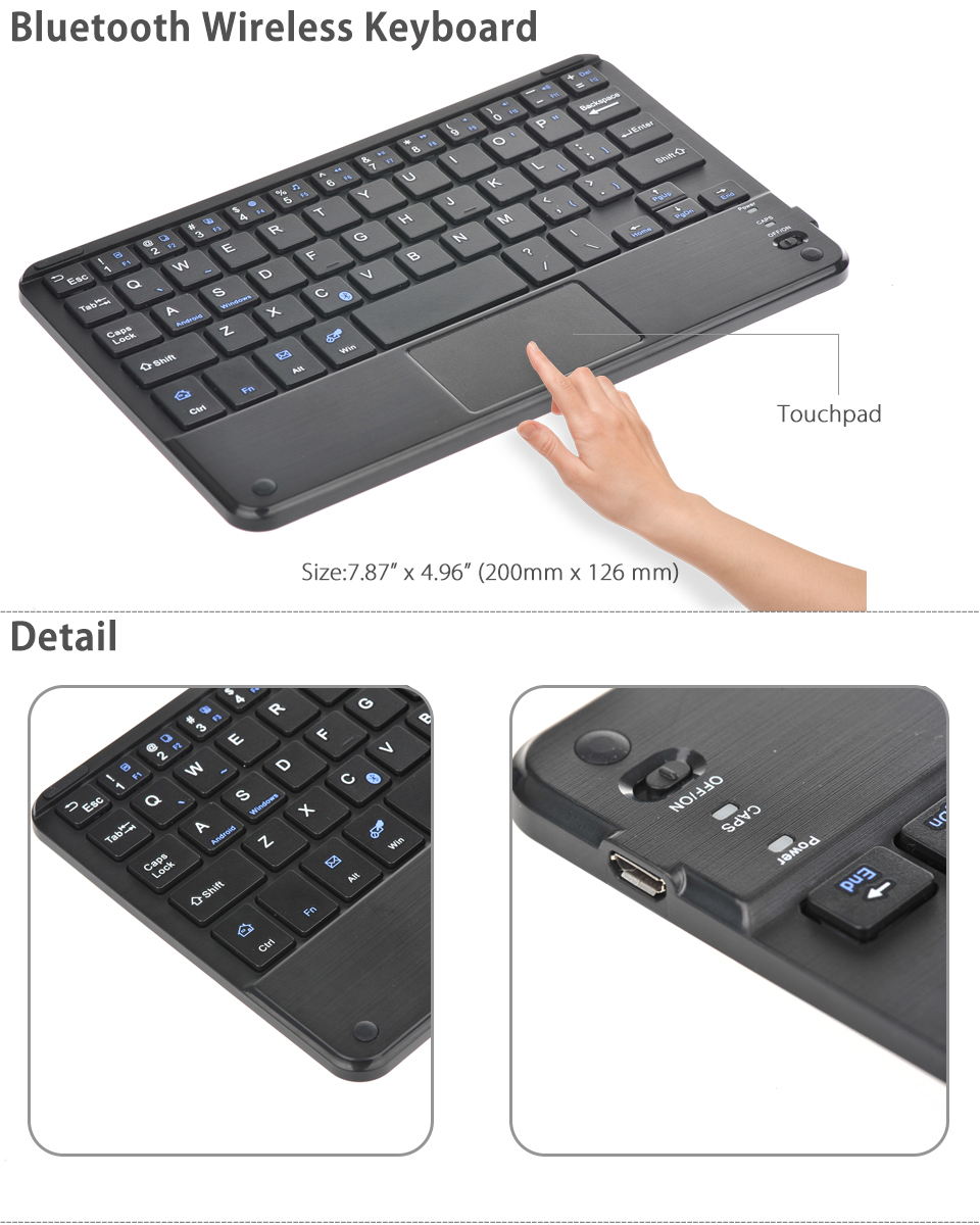 Bluetooth Keyboard Mapping Android: Bluetooth 3.0 Wireless Keyboard W/ Touchpad For Android Windows 7-8 Inch Tablet