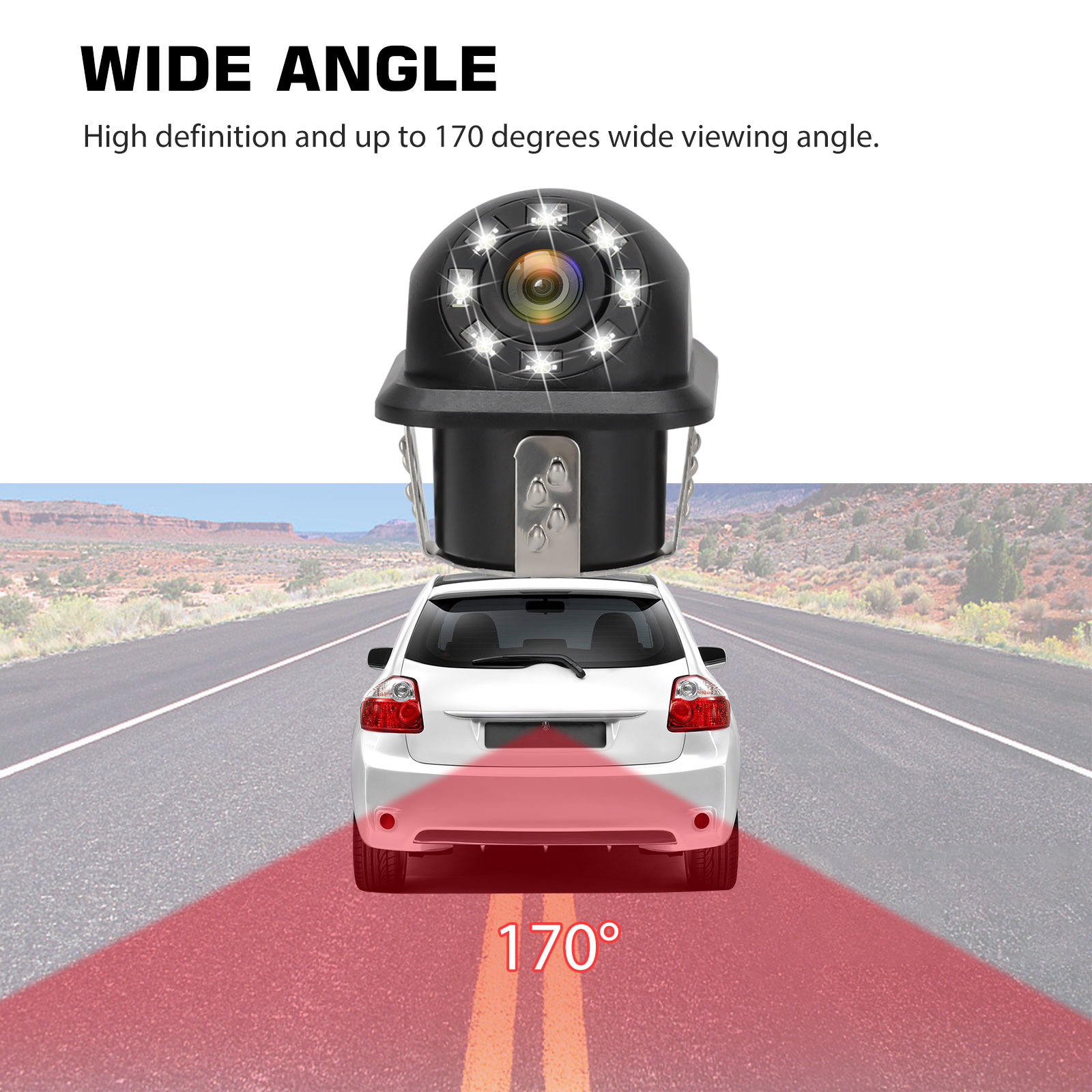 Waterproof-8-LED-Car-Backup-Rear-View-Reverse-Parking-HD-Camera-w-Night-Vision thumbnail 4