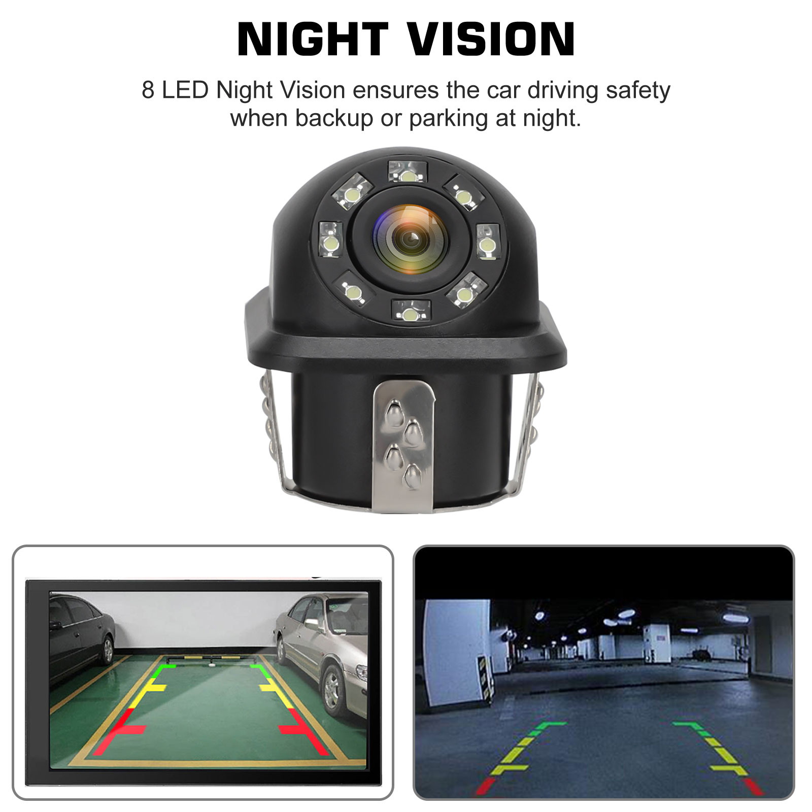 Waterproof-8-LED-Car-Backup-Rear-View-Reverse-Parking-HD-Camera-w-Night-Vision thumbnail 5
