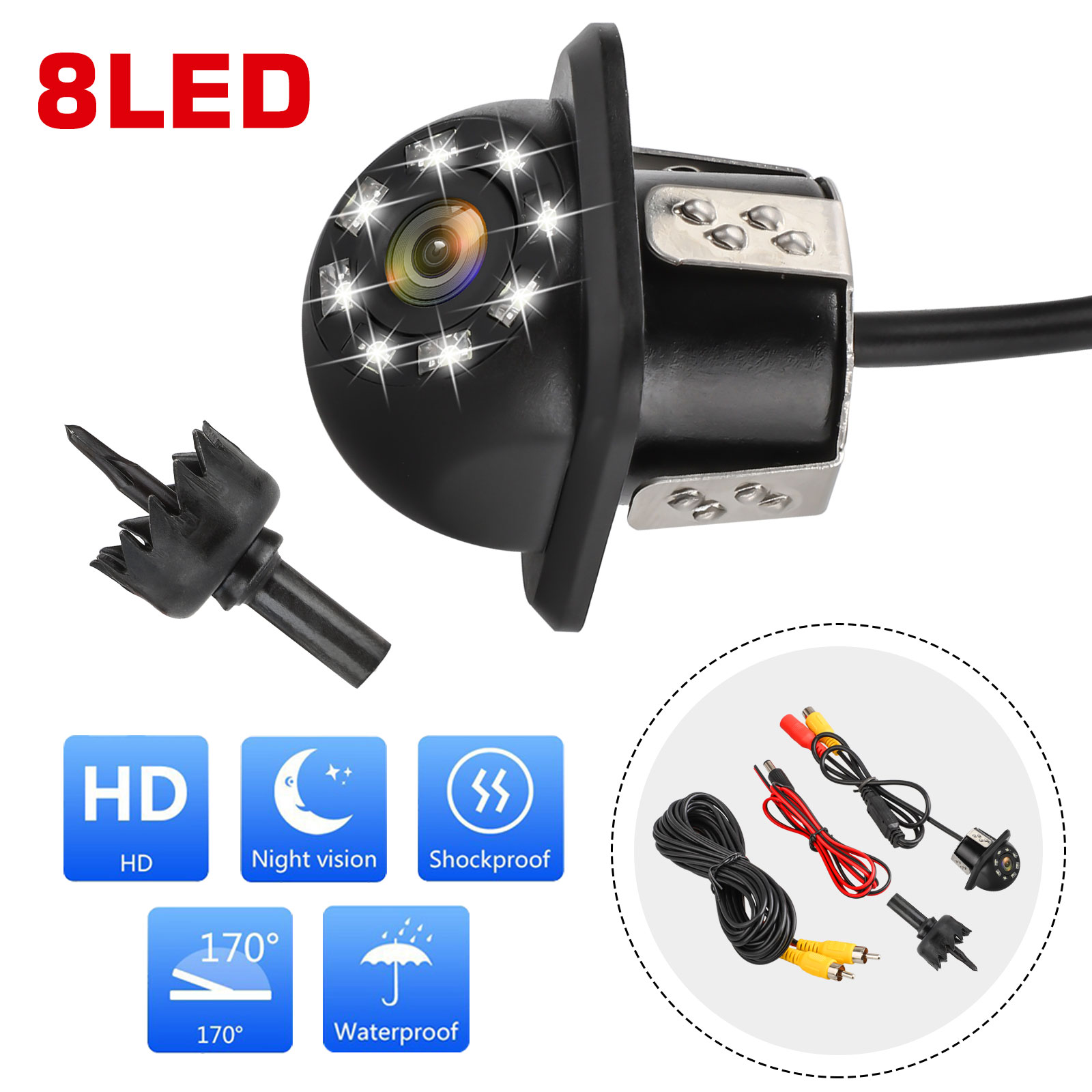 Waterproof-8-LED-Car-Backup-Rear-View-Reverse-Parking-HD-Camera-w-Night-Vision