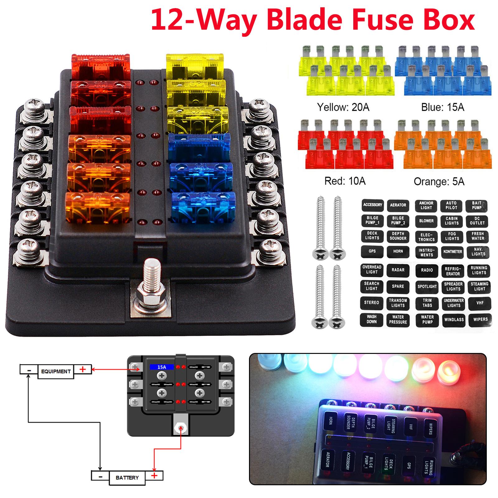 12-Way Blade Fuse Box Block Holder LED Indicator 12V-32V Auto Marine  Waterproof 619960756232 | eBayeBay