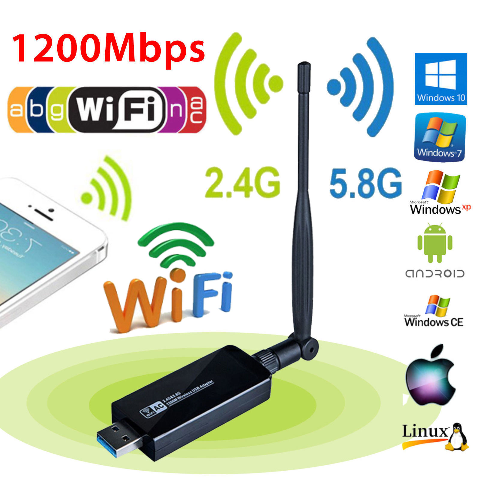 1200Mbps-Dual-Band-2-4GHz-5GHz-Wireless-USB-3-0-WiFi-Adapter-802-11AC-w-Antenna thumbnail 4