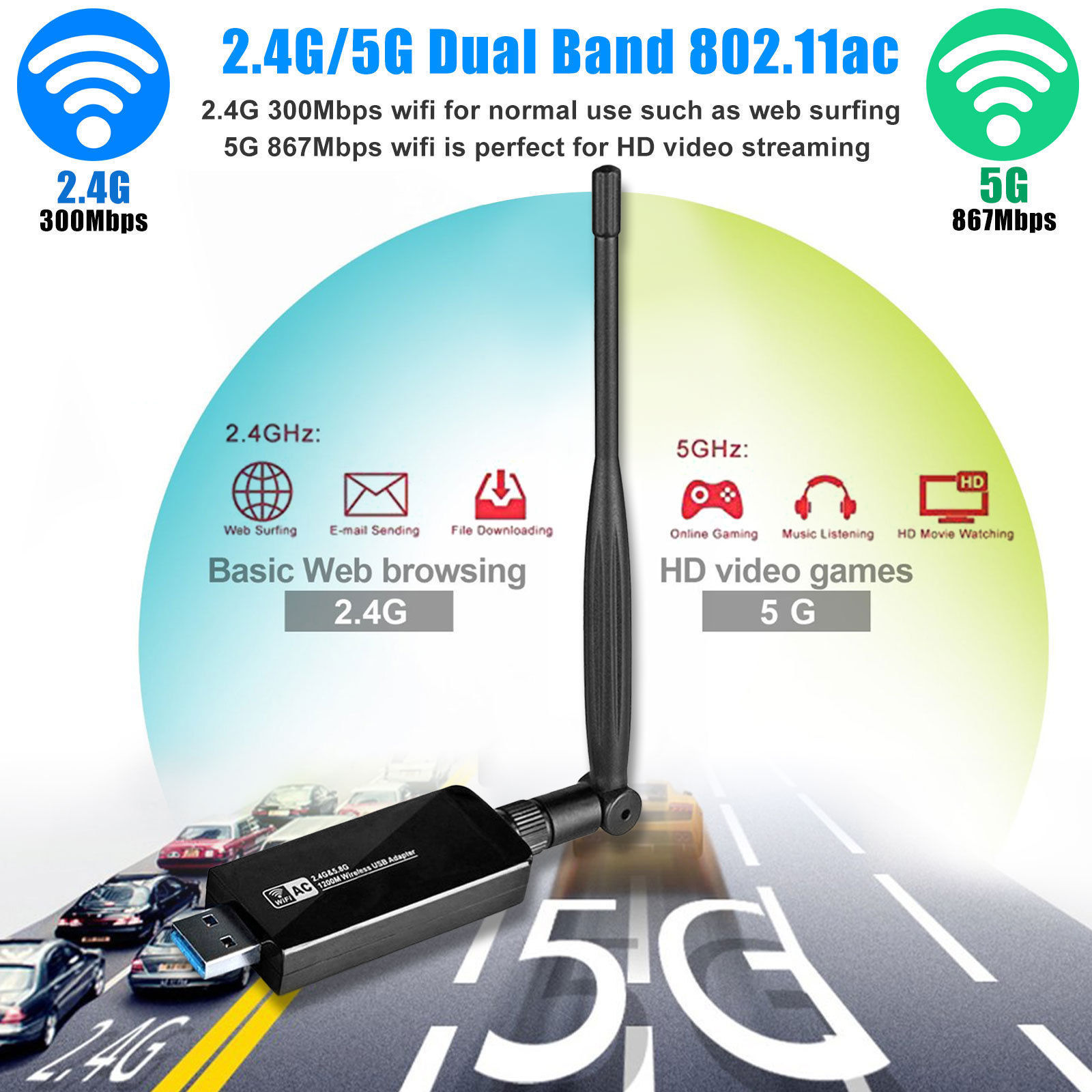1200Mbps-Dual-Band-2-4GHz-5GHz-Wireless-USB-3-0-WiFi-Adapter-802-11AC-w-Antenna thumbnail 5