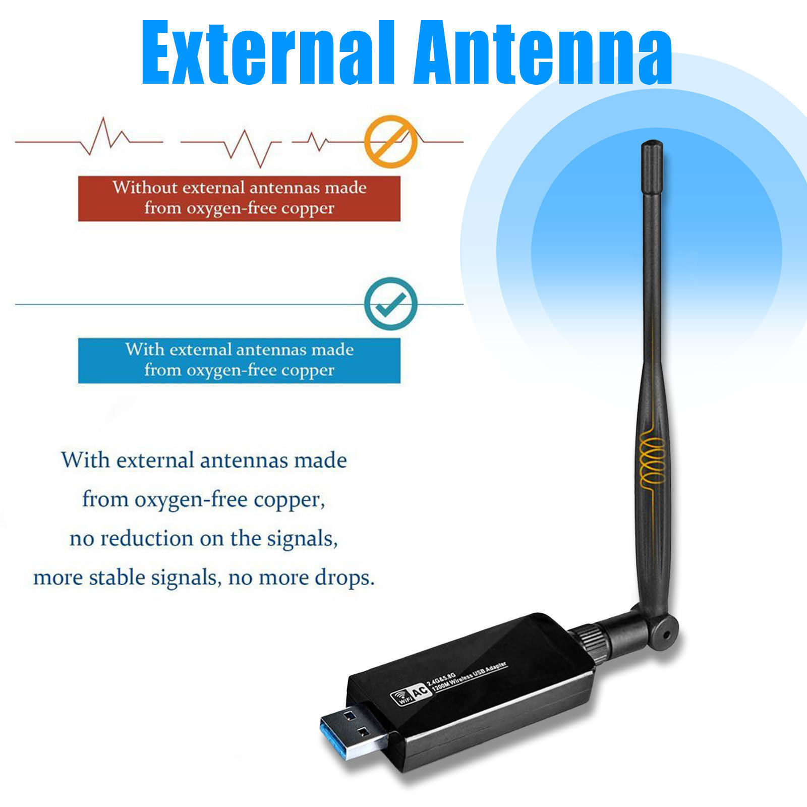 1200Mbps-Dual-Band-2-4GHz-5GHz-Wireless-USB-3-0-WiFi-Adapter-802-11AC-w-Antenna thumbnail 7