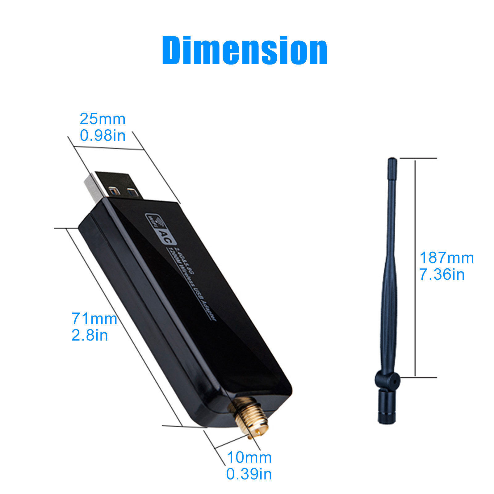 1200Mbps-Dual-Band-2-4GHz-5GHz-Wireless-USB-3-0-WiFi-Adapter-802-11AC-w-Antenna thumbnail 11