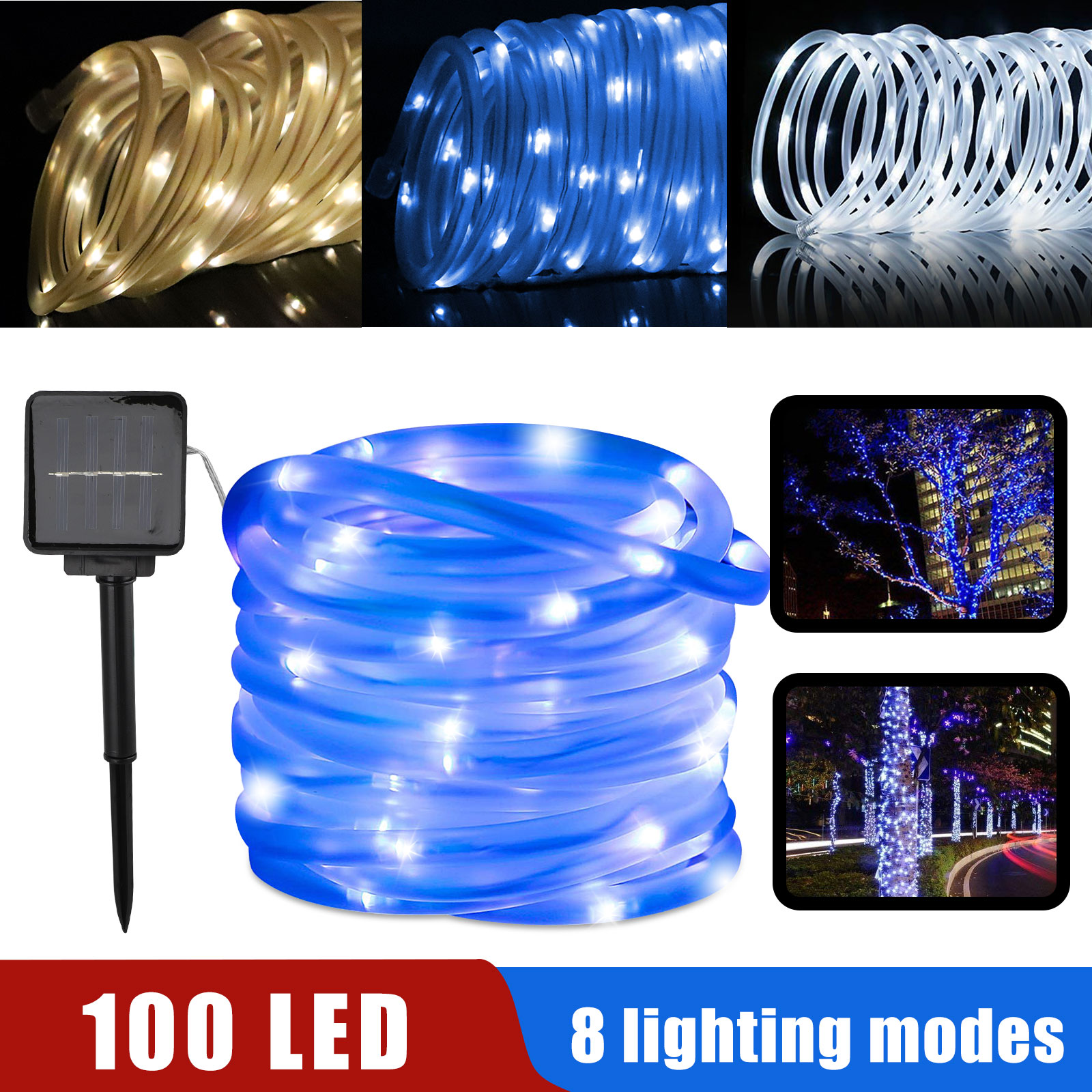 32FT 100 LED Solar Powered waterproof Outdoor LED Rope Light