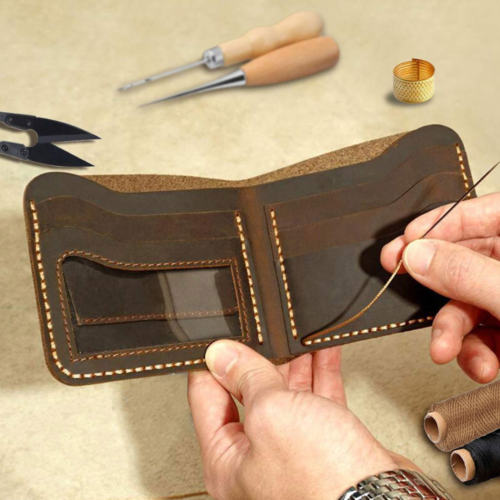 24-Leather-Craft-Punch-Tools-Kit-Stitching-Carving-Working-Sewing-Saddle-Groover thumbnail 6