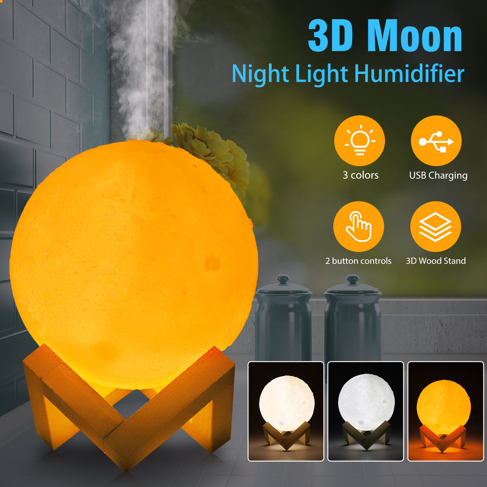 880mL 3D Moon Lamp USB Air Humidifier Aroma Mist Diffuser Pu