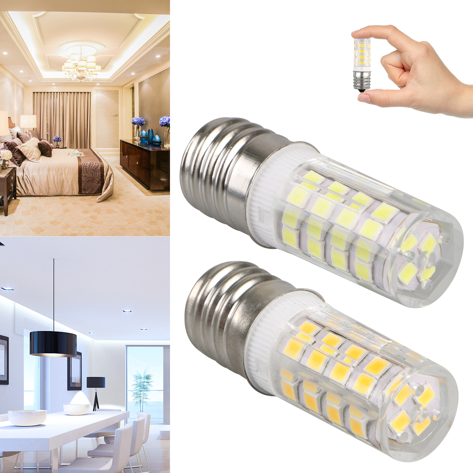 2Pcs Light Bulbs E17 SMD LED Microwave Oven Freezer 110-220V Hall Bedroom
