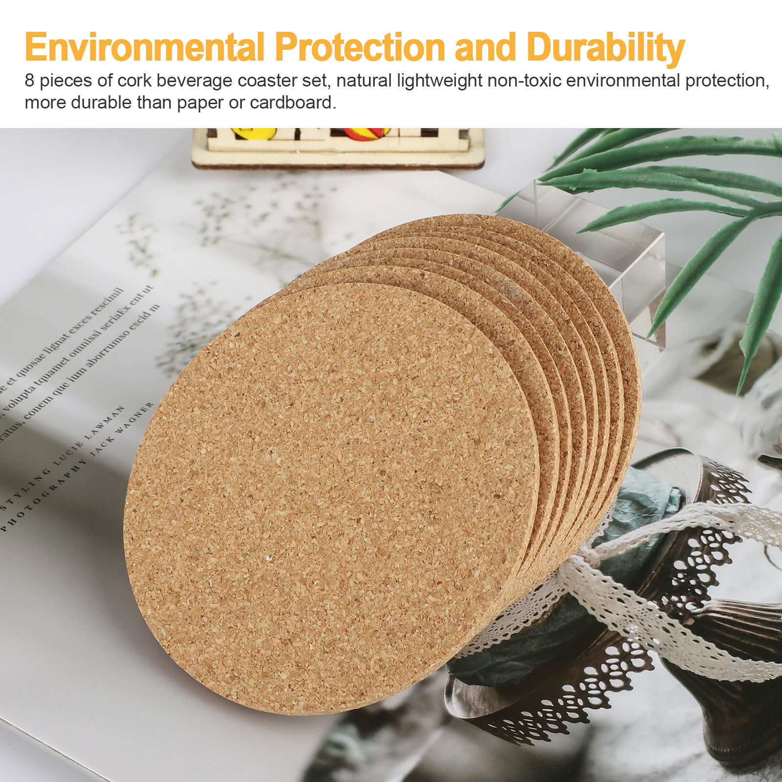 8-16pcs-Cork-Drink-Coasters-Tea-Coffee-Absorbent-Round-Cup-Mat-Table-Decor-Home thumbnail 3