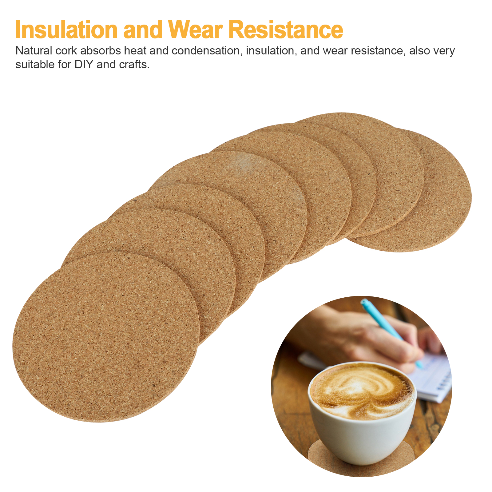 8-16pcs-Cork-Drink-Coasters-Tea-Coffee-Absorbent-Round-Cup-Mat-Table-Decor-Home thumbnail 4