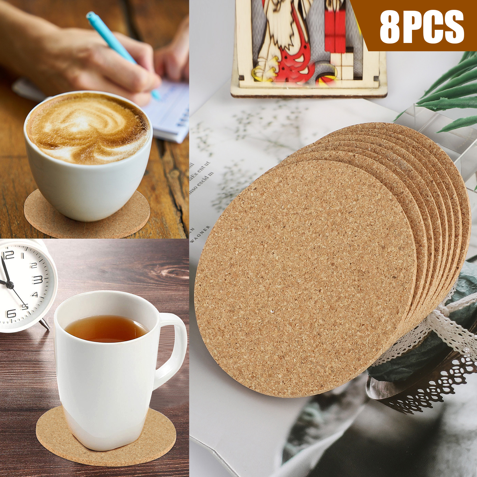 8-16pcs-Cork-Drink-Coasters-Tea-Coffee-Absorbent-Round-Cup-Mat-Table-Decor-Home