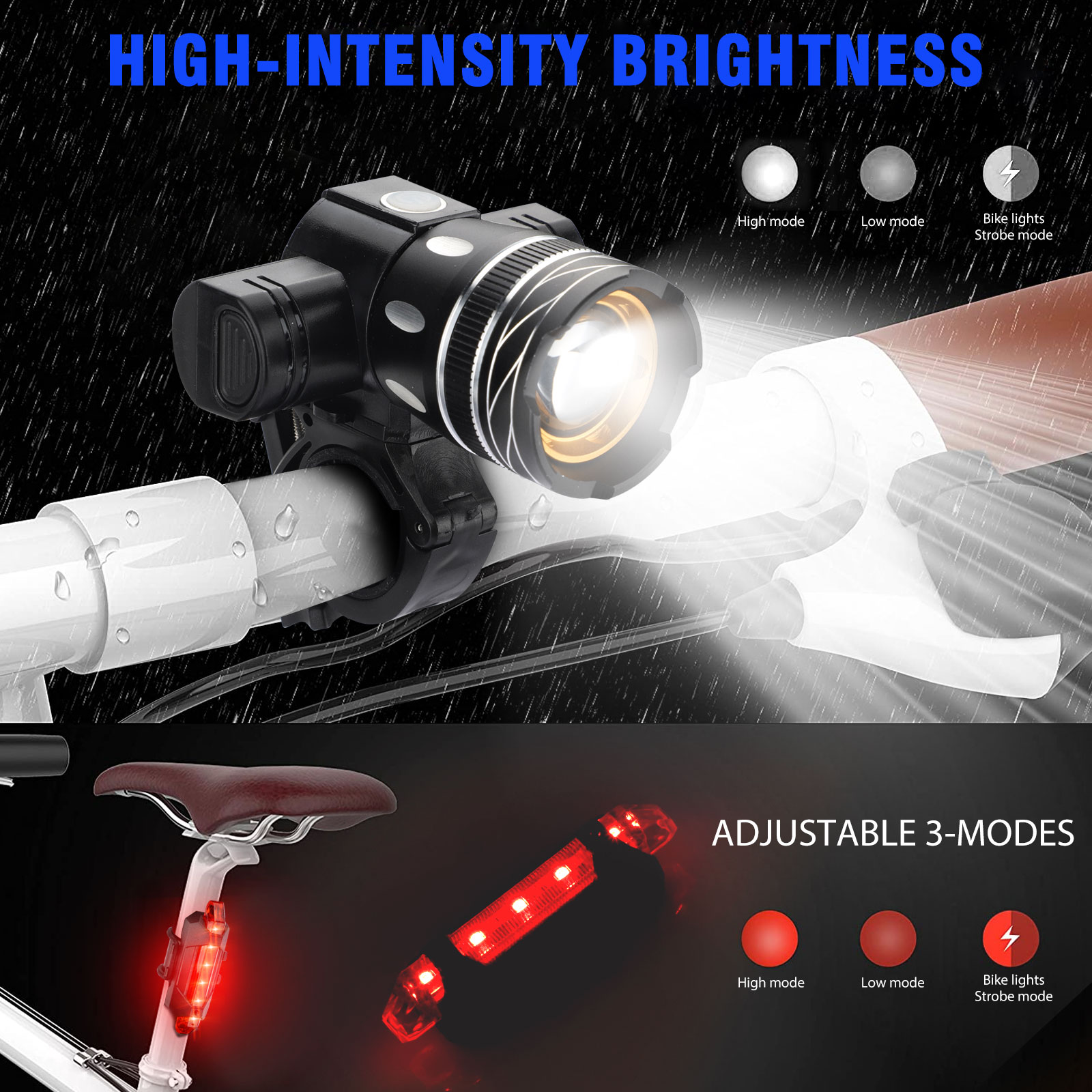 thumbnail 2 - IP65-Bike-Front-Rear-LED-Light-Set-USB-Rechargeable-Bicycle-Headlight-Taillight