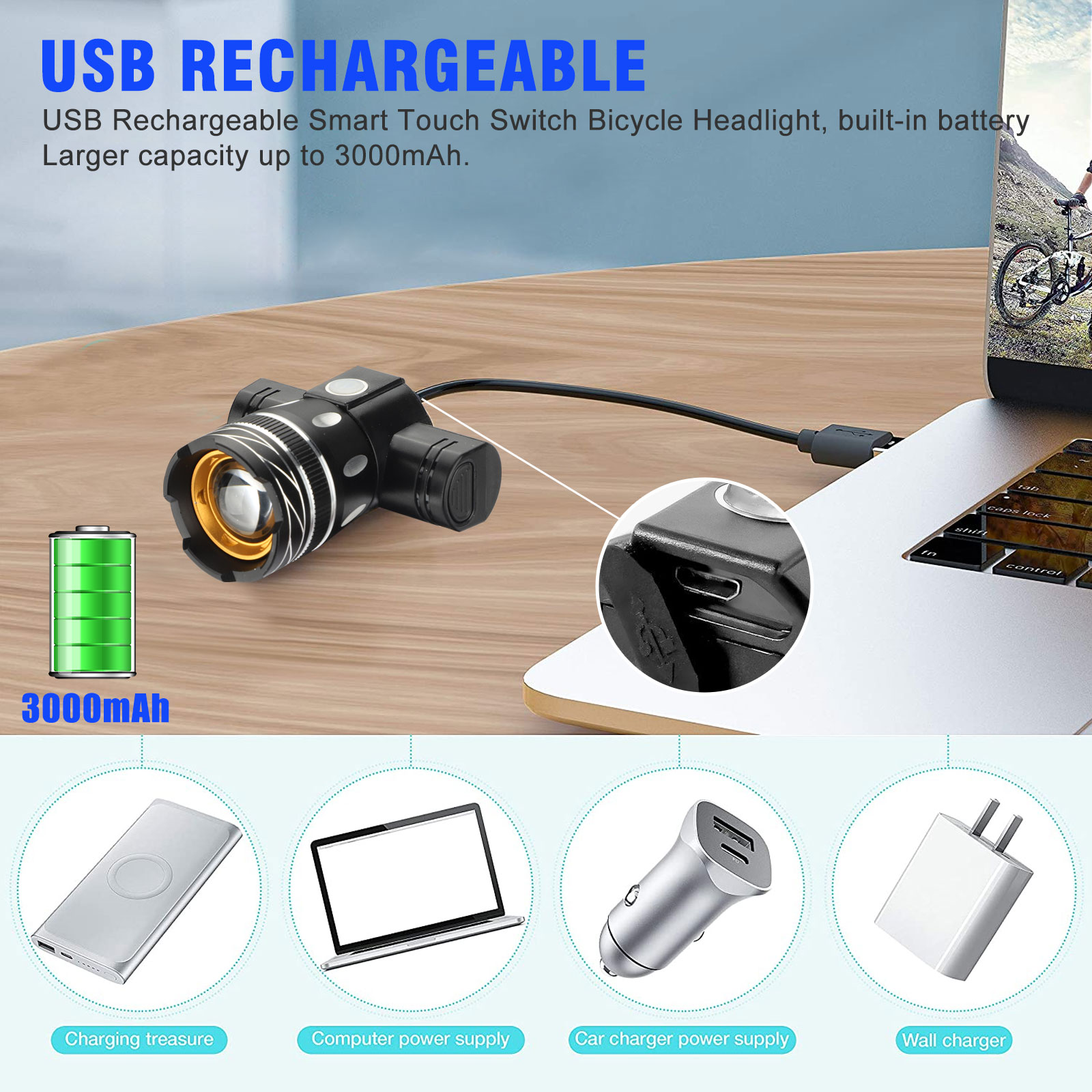 thumbnail 3 - IP65-Bike-Front-Rear-LED-Light-Set-USB-Rechargeable-Bicycle-Headlight-Taillight