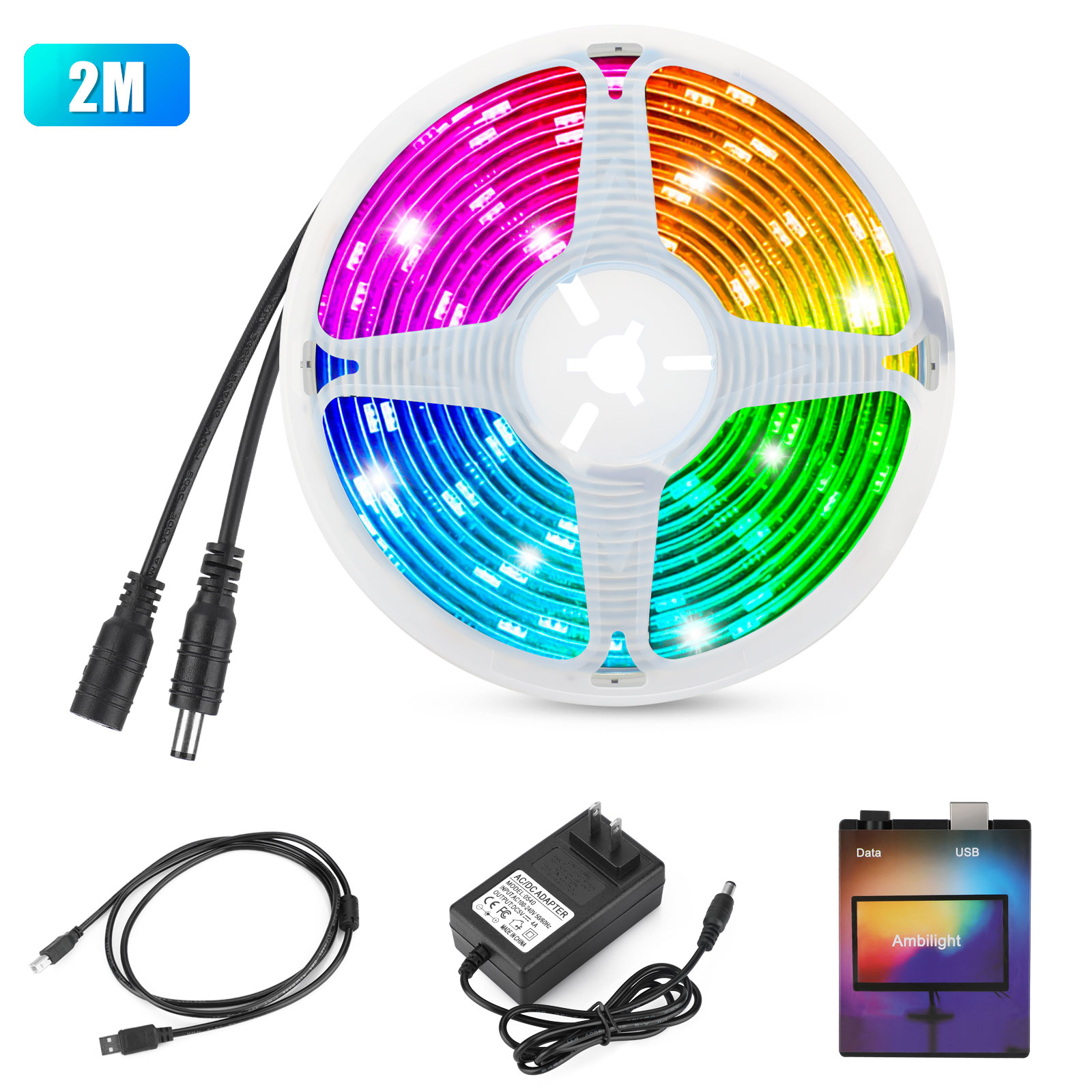 Dimmable-TV-USB-WS2812B-LED-Strip-Tape-Computer-PC-Dream-Screen-Backlight-DIY-US thumbnail 14