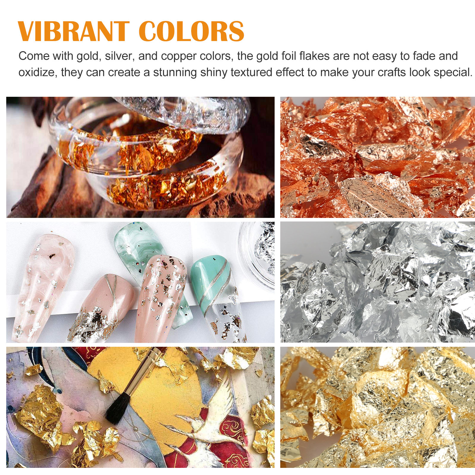 Gold-Foil-Leaf-Flake-Epoxy-Resin-Filling-Materials-DIY-Molds-Jewelry-Nail-Decor thumbnail 3