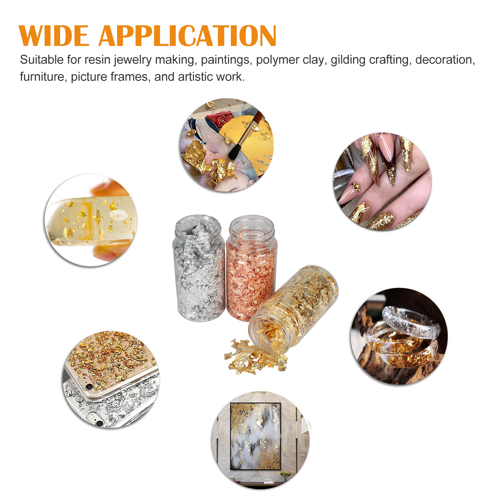 Gold-Foil-Leaf-Flake-Epoxy-Resin-Filling-Materials-DIY-Molds-Jewelry-Nail-Decor thumbnail 5