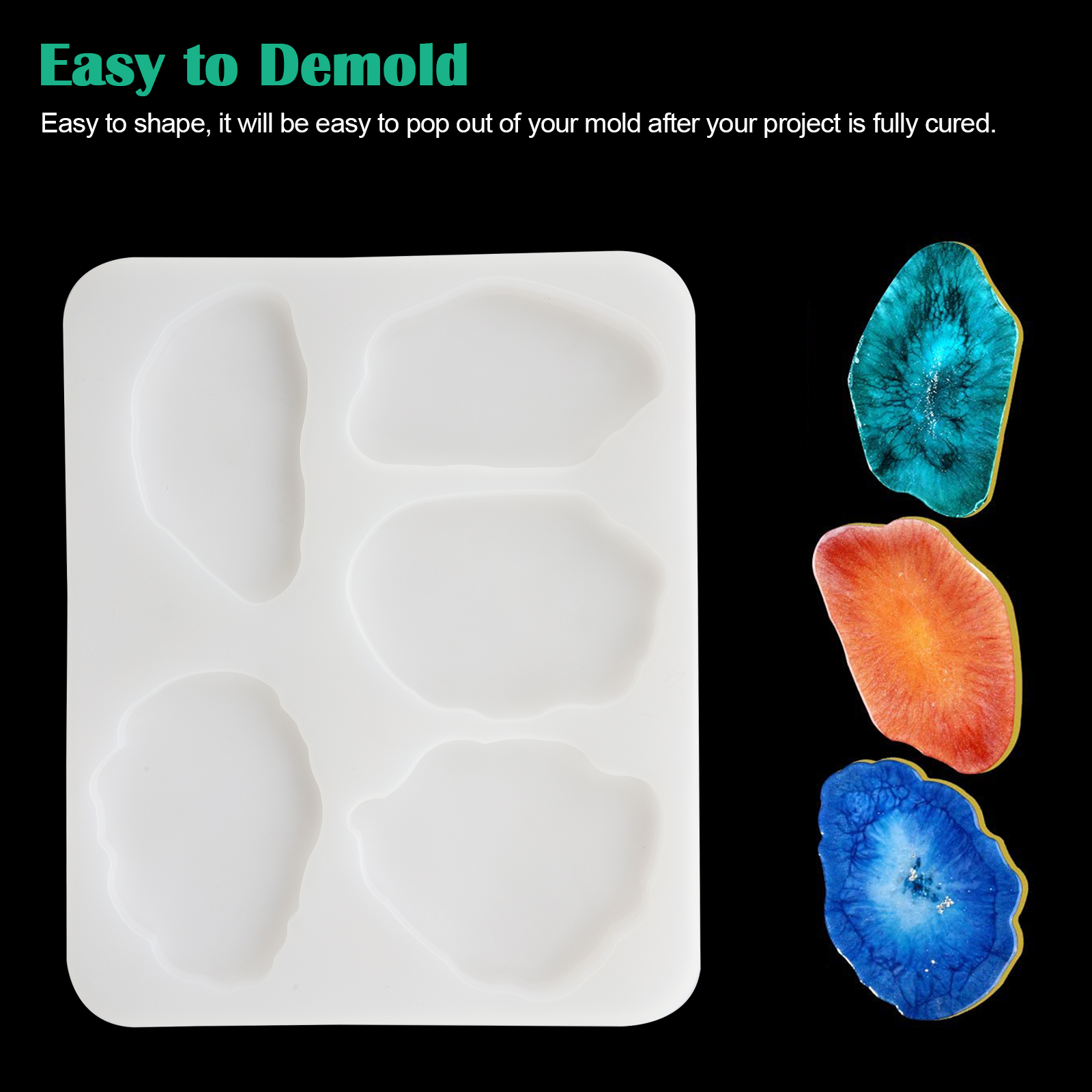 Silicone-Coaster-Mold-Resin-Casting-Mould-Agate-Jewelry-Clay-Making-Art-DIY-Tool thumbnail 4