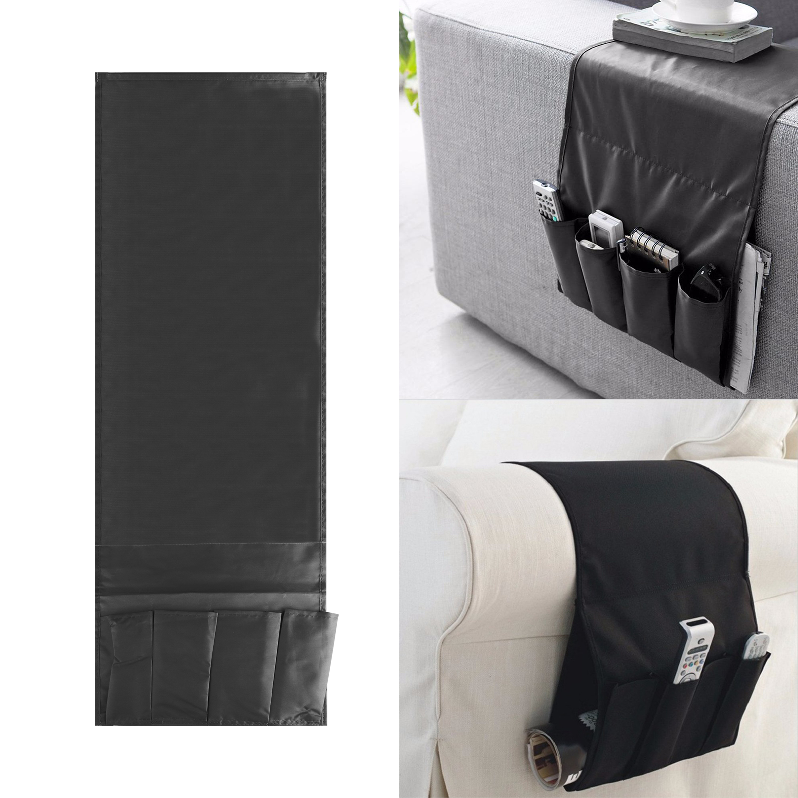 Sofa Couch TV Remote Control Holder Armrest Organizer Storage Bag Pouch 4 Pocket