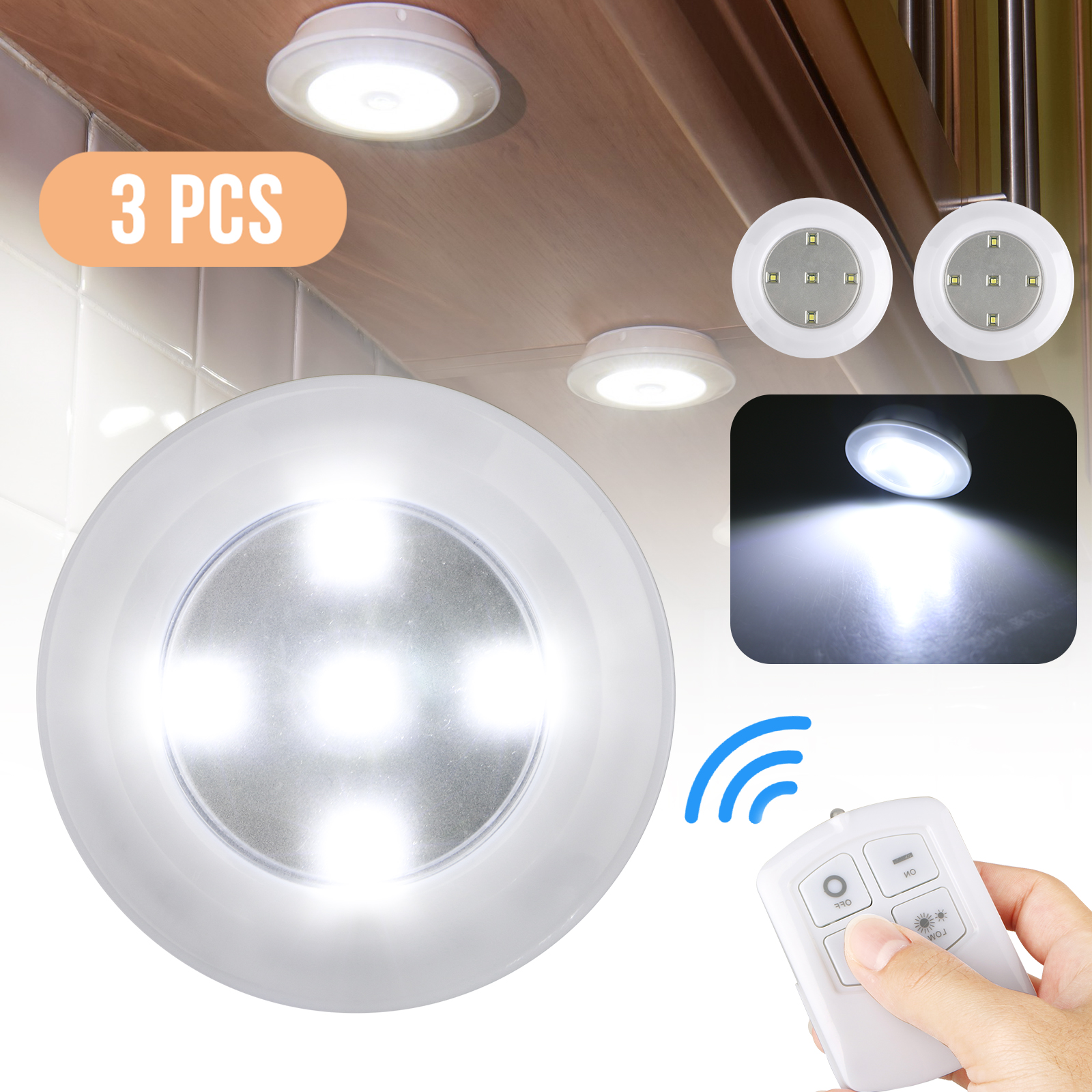 Lights & Lighting 3pcs Remote Control Under Cabinet Light Kitchen Wardrobe Cupboard Durable White Closet Bedroom Cabinet Wireless Light