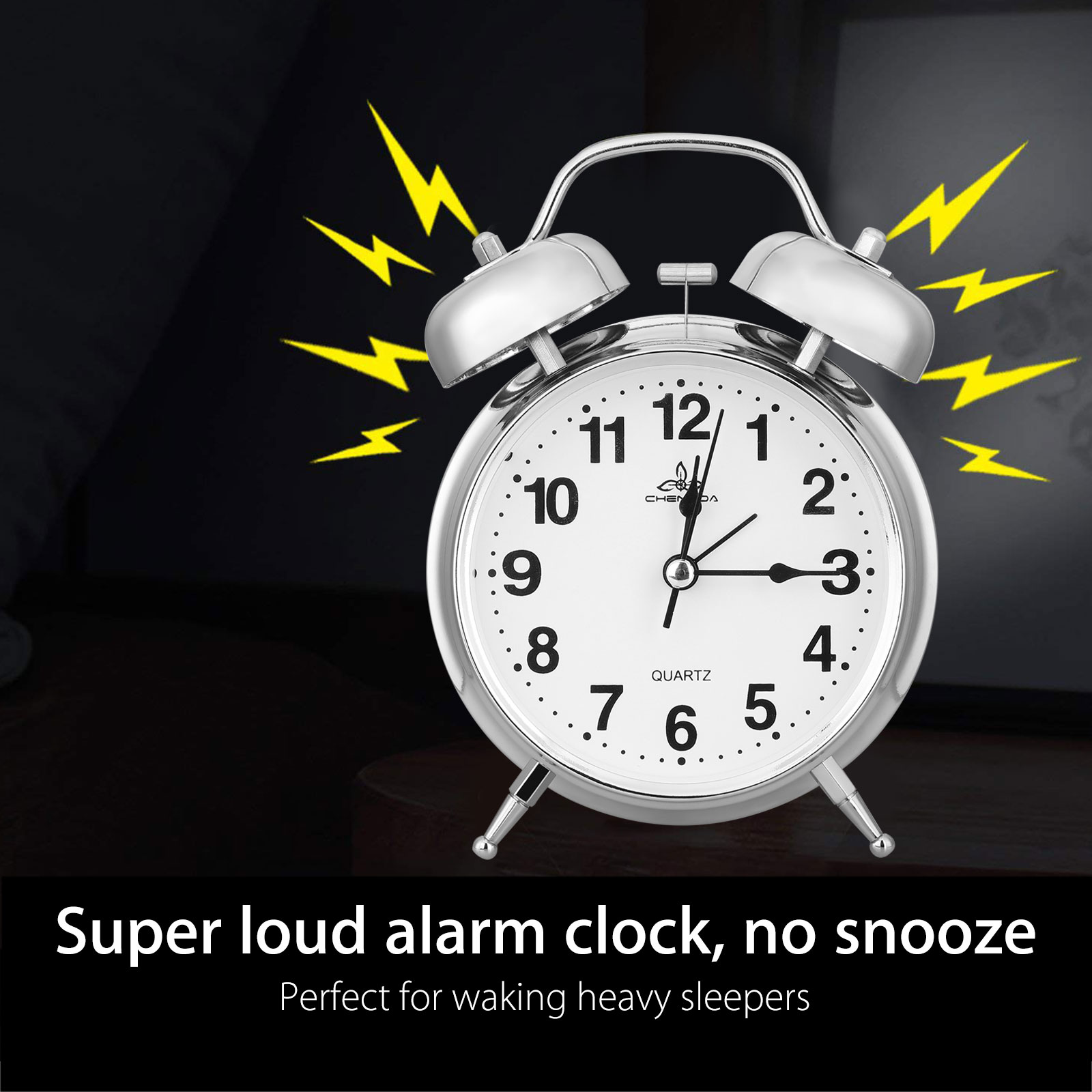 Silent Analog Alarm Clock Vintage Retro Classic Night Light