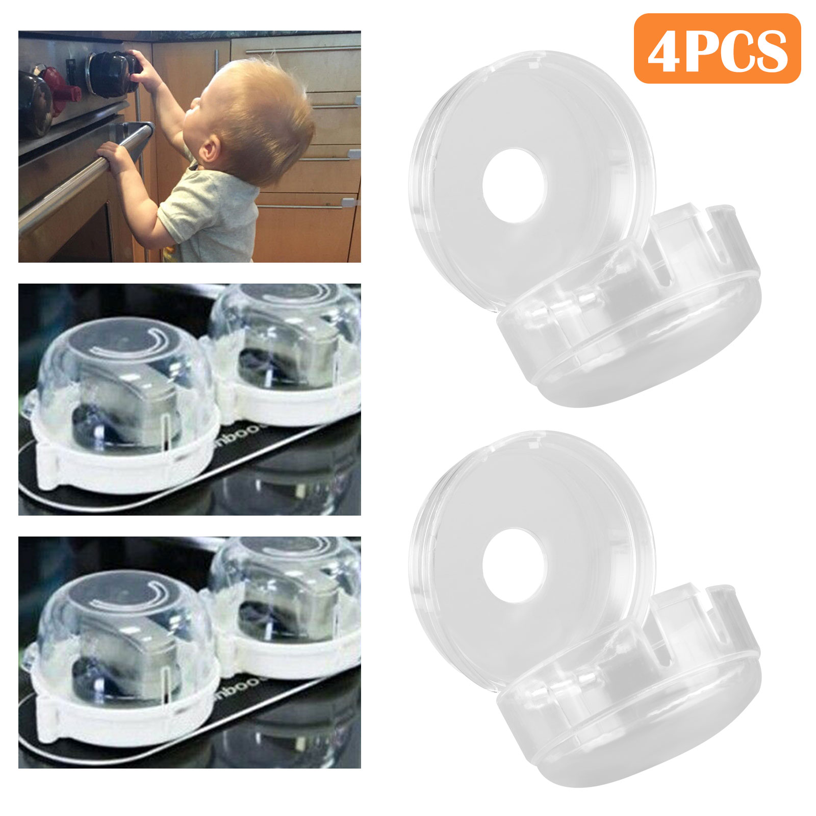 Universal Oven & Stove Knob Covers Clear View Child Baby Kitchen Safety 4Pcs/Set Baby Safety & Health
