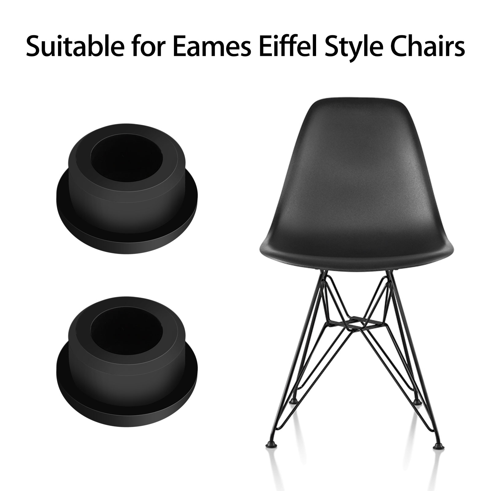 4pcs Chair Glides Replacement Fit For Eames Eiffel Style Furniture Feet Black 3