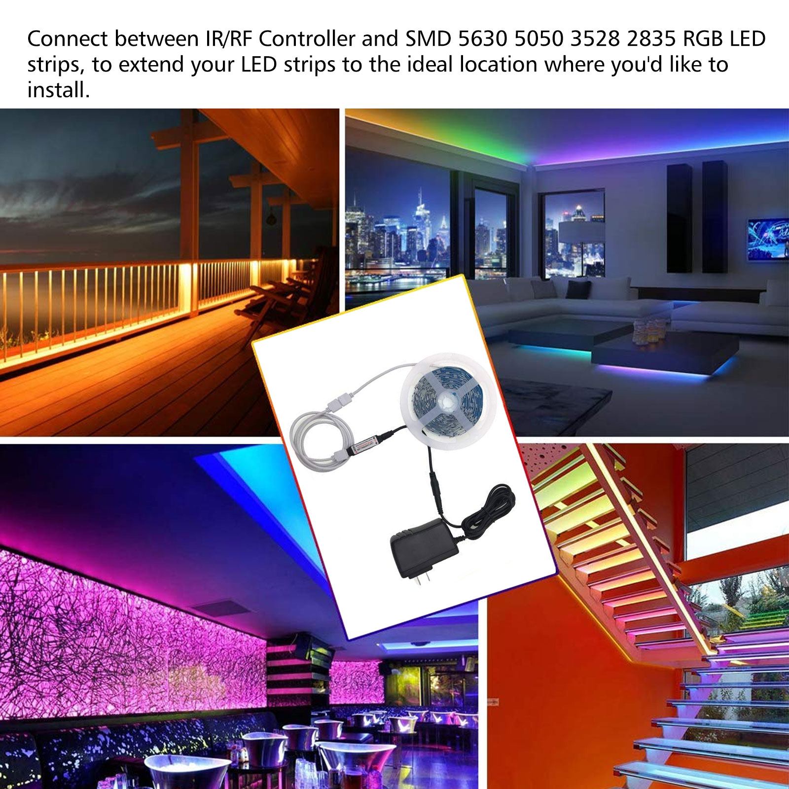 4Pin-Extension-Wire-Connector-For-SMD-LED-Strip-Light-RGB-5050-3528-Cable-Cord thumbnail 4