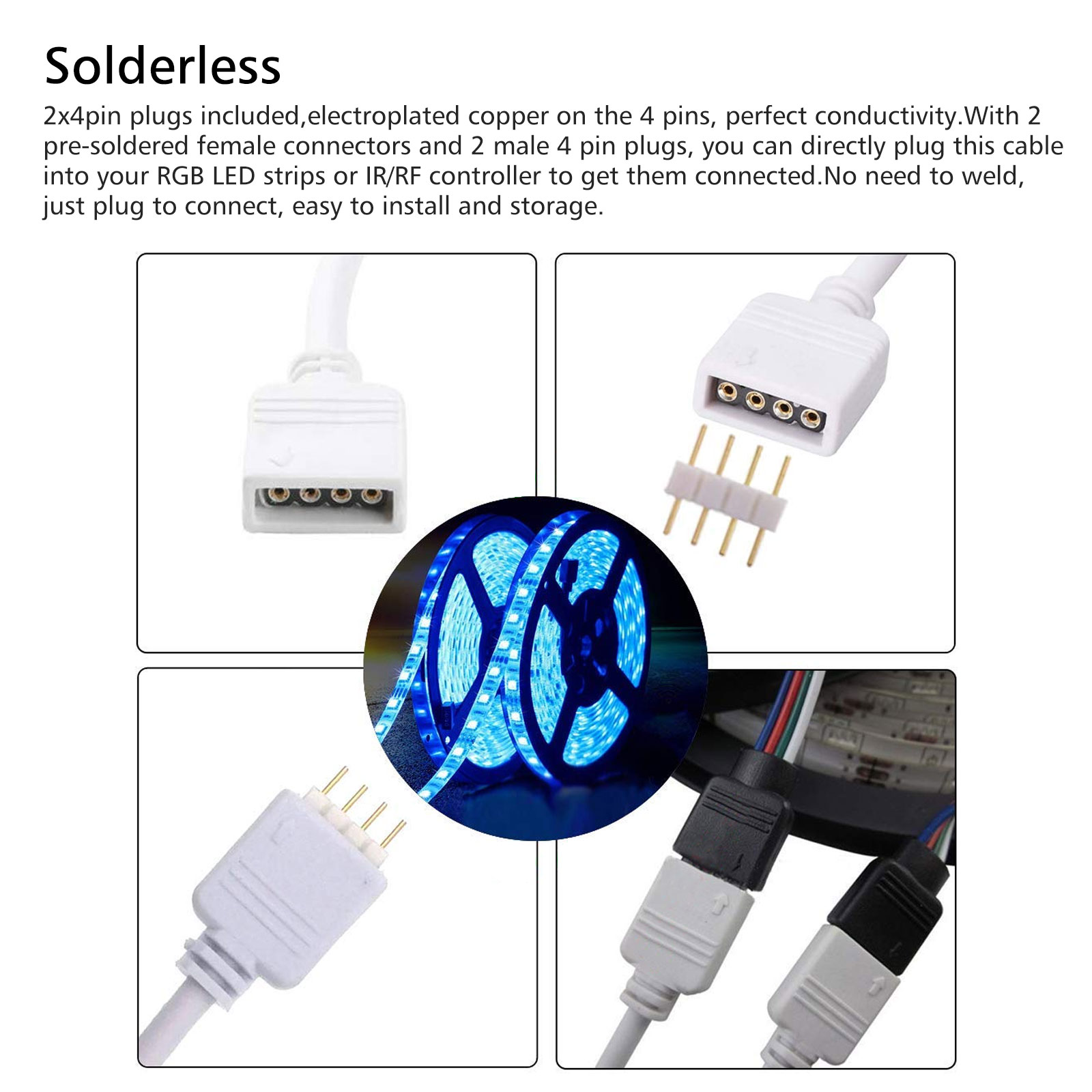 4Pin-Extension-Wire-Connector-For-SMD-LED-Strip-Light-RGB-5050-3528-Cable-Cord thumbnail 6