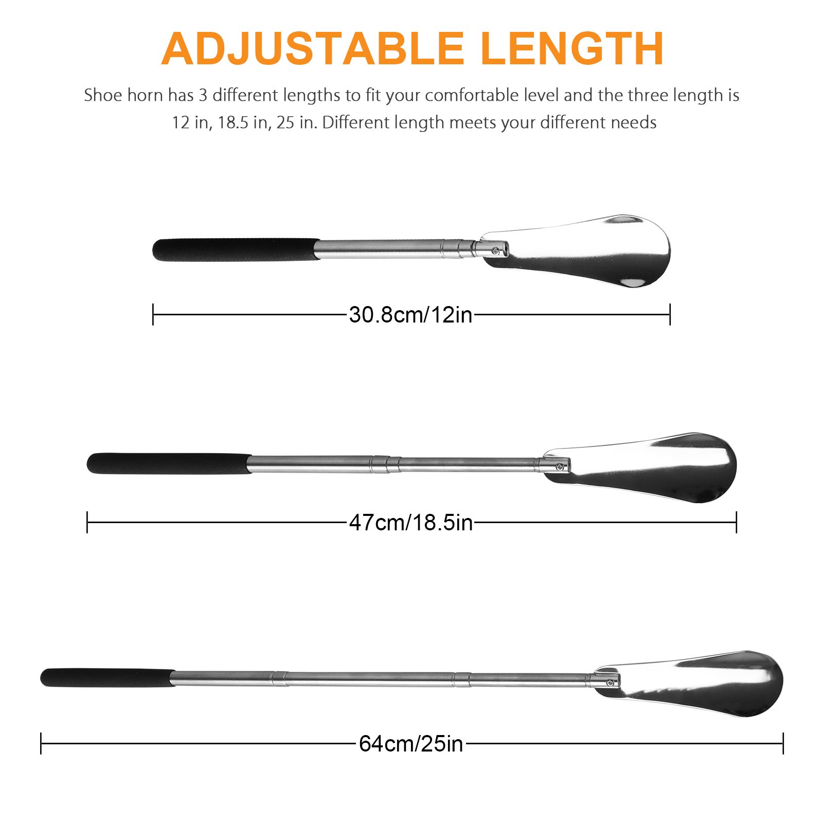 25-034-Adjustable-Stainless-Steel-Long-Handled-Metal-Shoe-Horn-Spoon-Shoehorn-Silver thumbnail 7