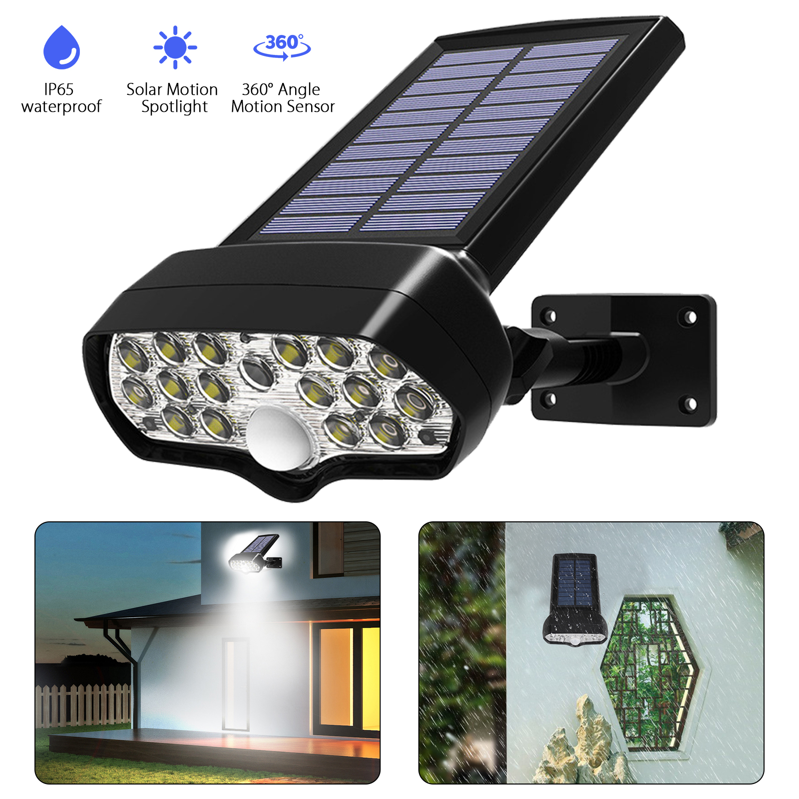 Solar Power 16-LED Motion Sensor Spotlight Landscape Lights