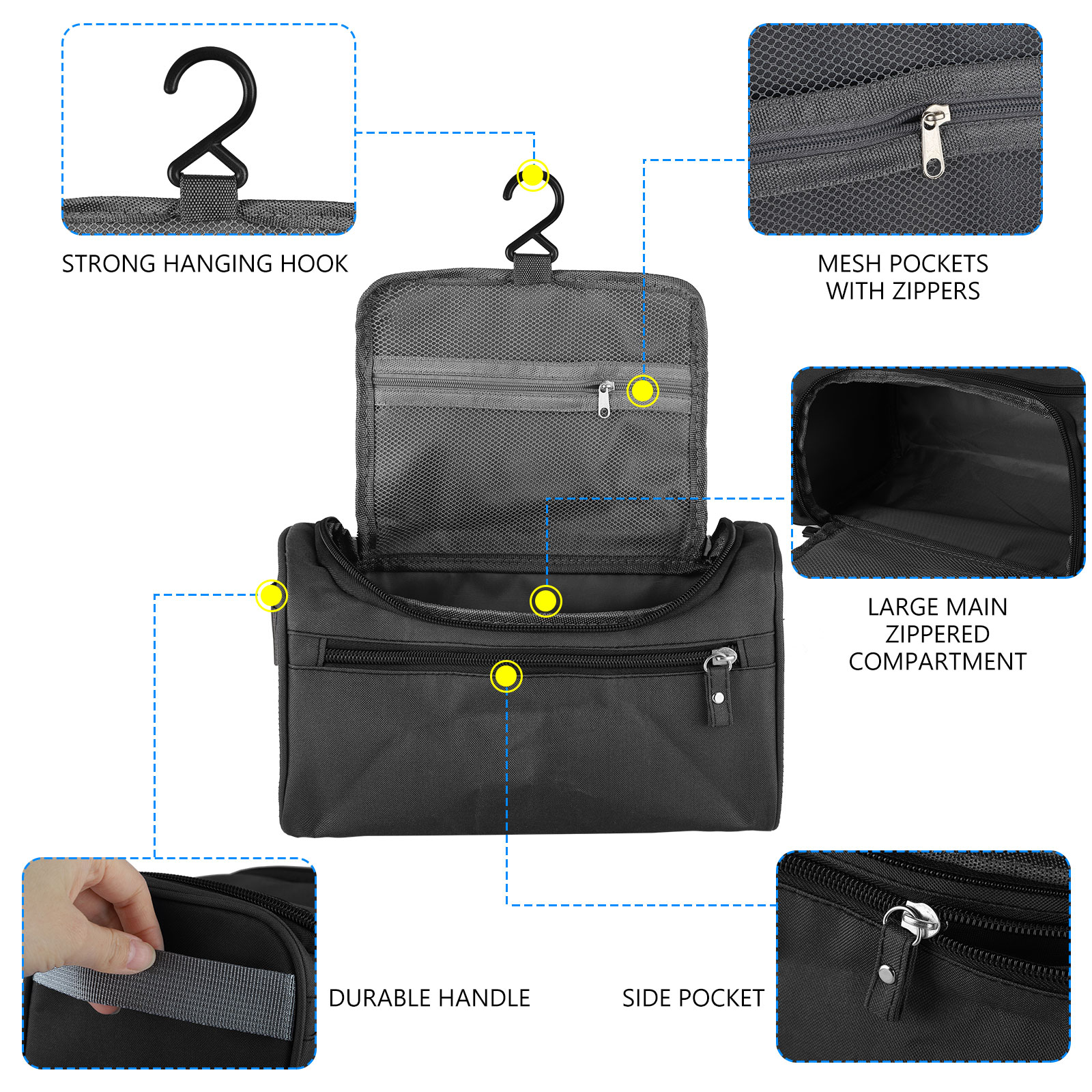 Travel-Wash-Bag-Toiletry-Organizer-Shaving-Cosmetic-Make-up-Case-Waterproof-Mens thumbnail 3