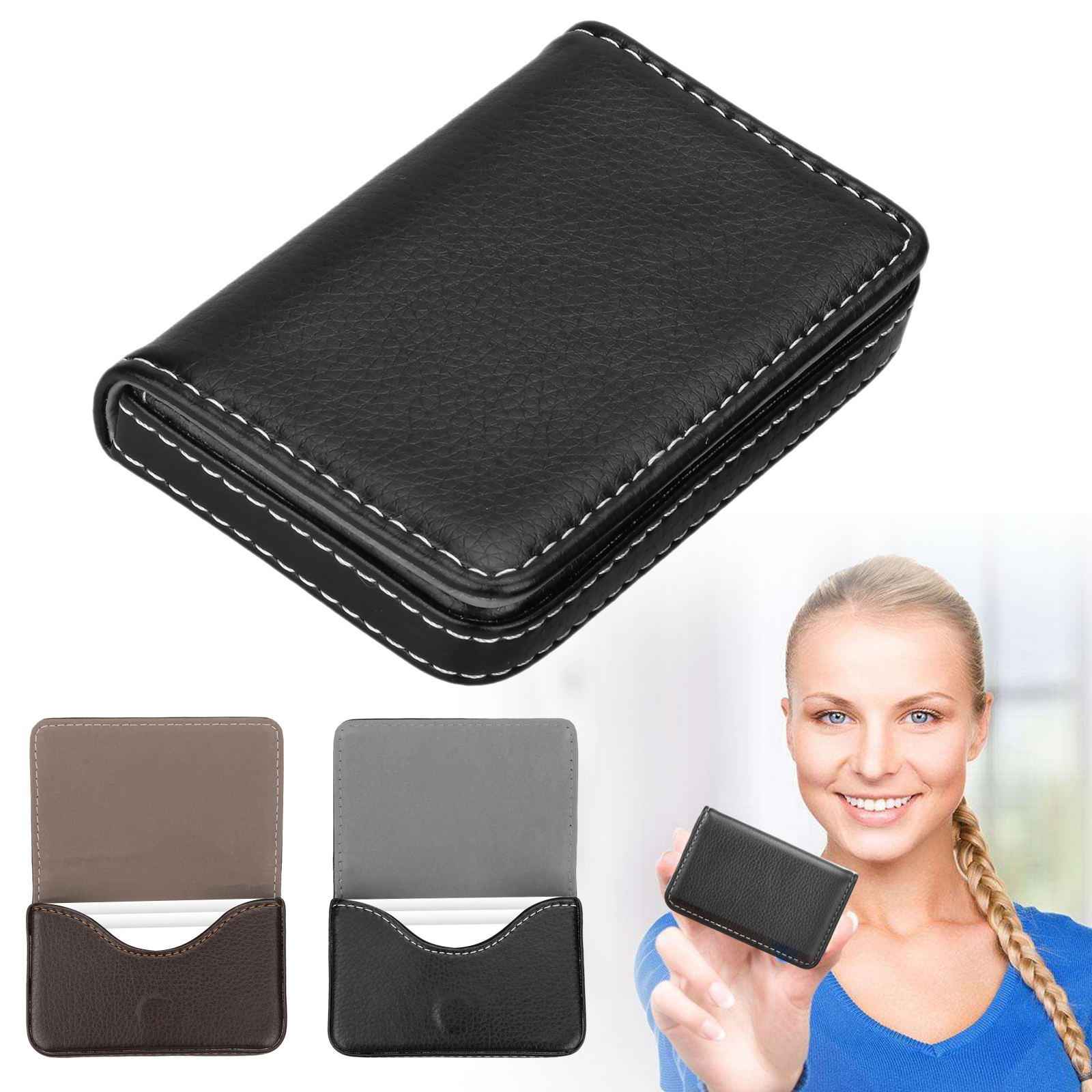 Men/'s Leather Slim Magnetic Money Clip Front Pocket Wallet ID Credit Card Holder