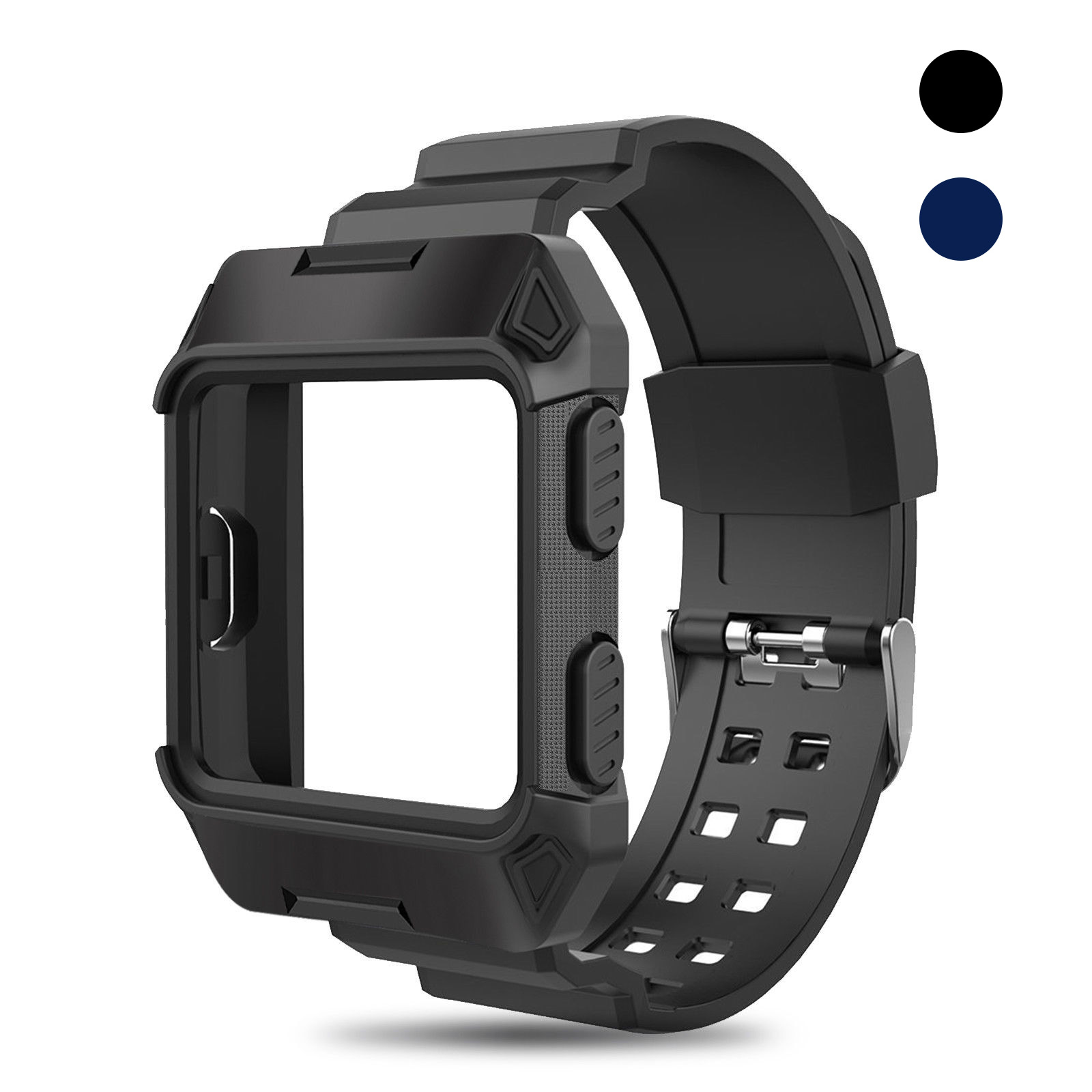 Black-Armor-For-Fitbit-Ionic-Rugged-Band-Protective-Case-Large-Wristband-Strap